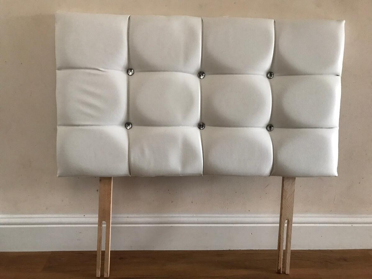 Picture of: Single White Leather Diamond Headboard In Spelthorne For 20 00 For Sale Shpock