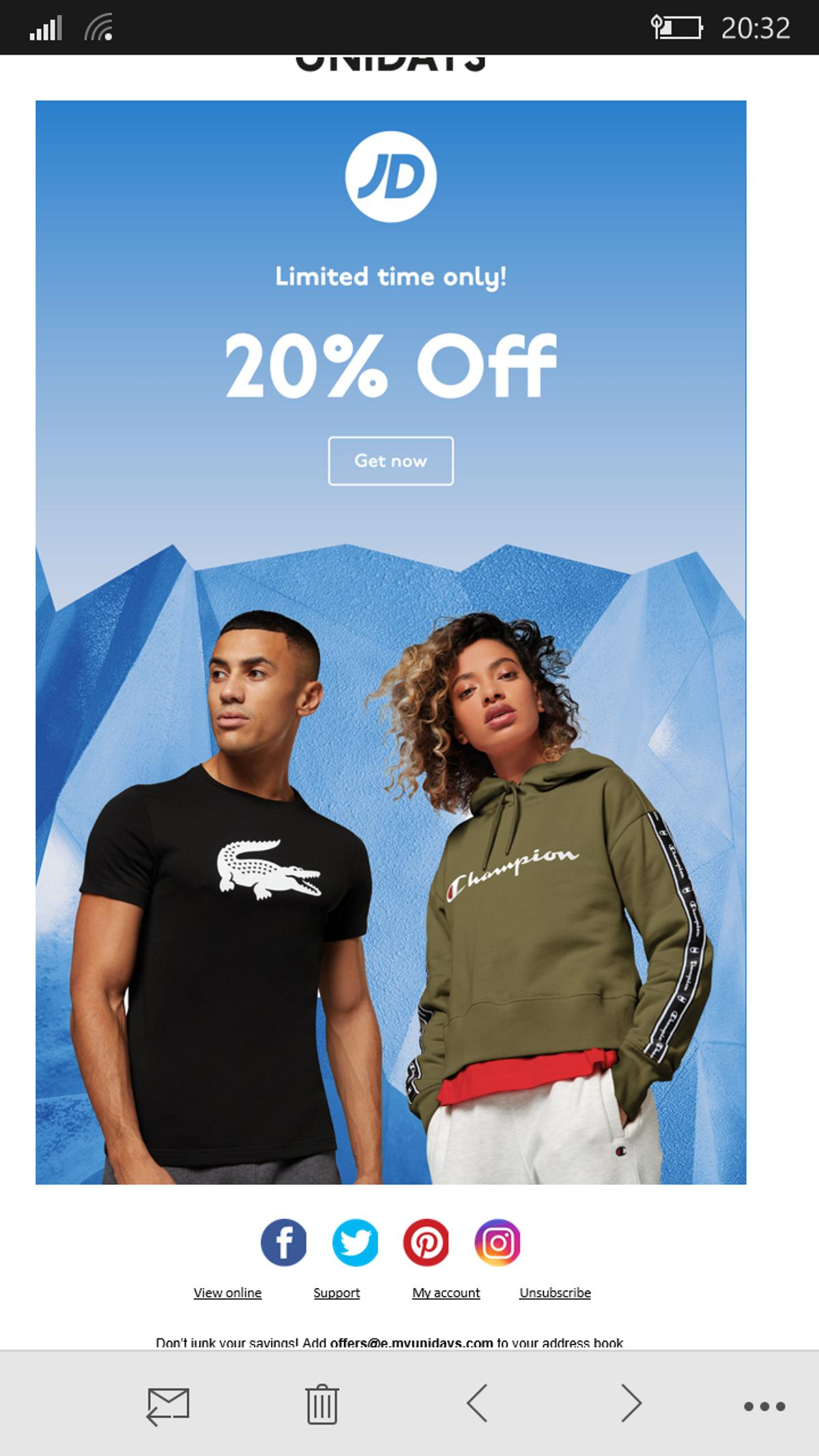 20 off jd sports discount code in se19 london for 8 00 for sale shpock 20 off jd sports discount code