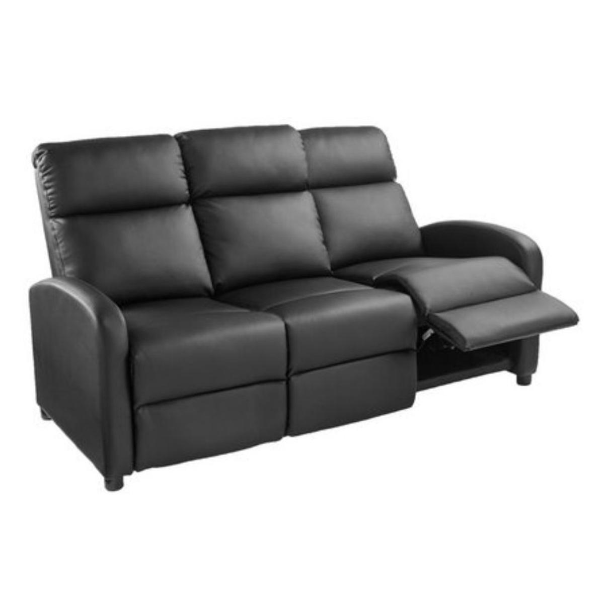 3 Seater Recliner Sofa Black Couch F. Leather