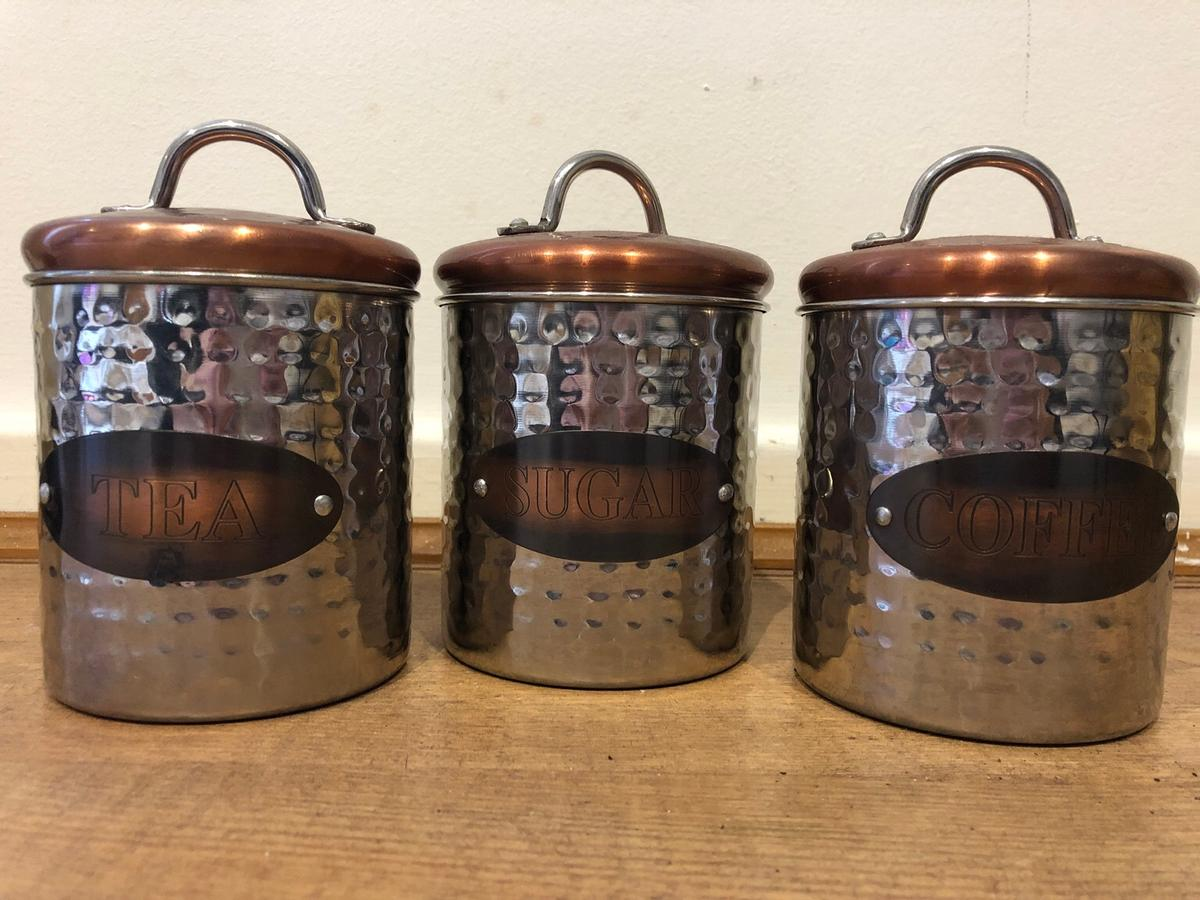 New Copper Tea Coffee And Sugar Canisters