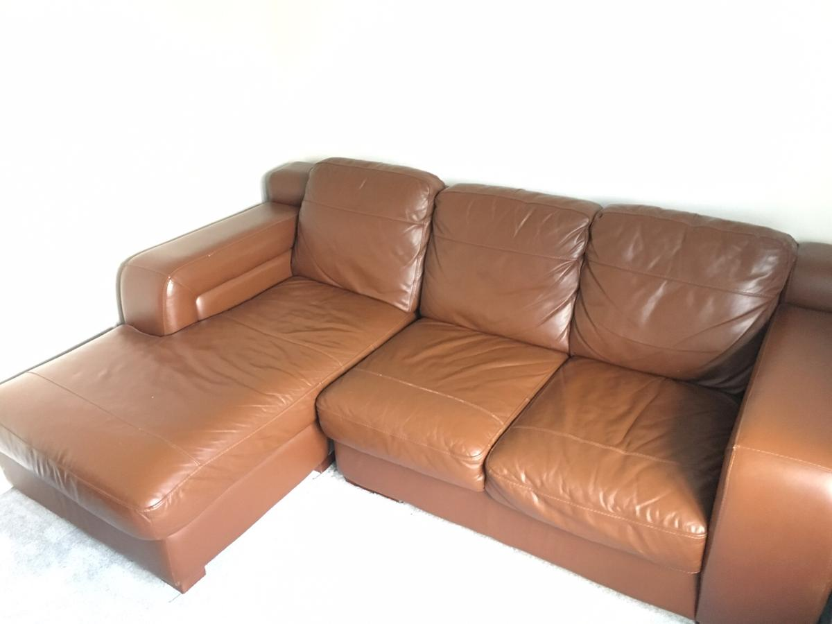 Tan Leather Corner Sofa Chaise Couch Settee