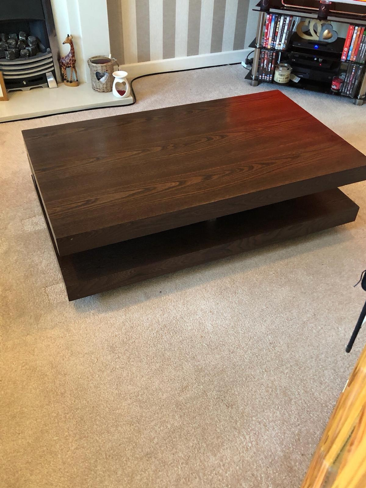 Solid Wood Dark Brown Coffee Table