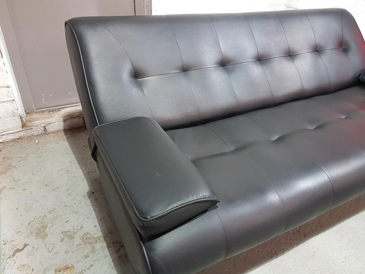 NEW Black Leather Click Clack Sofa Bed Button in SK8 Stockport for ...