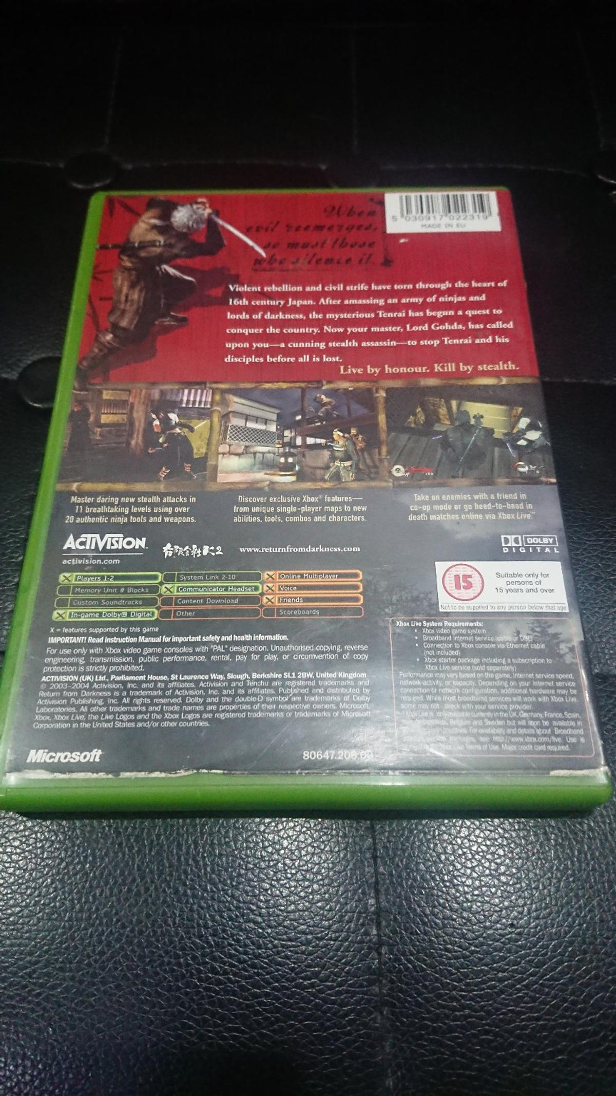 Tenchu: RFD original Xbox game + manual in N3 London for £4 50 for