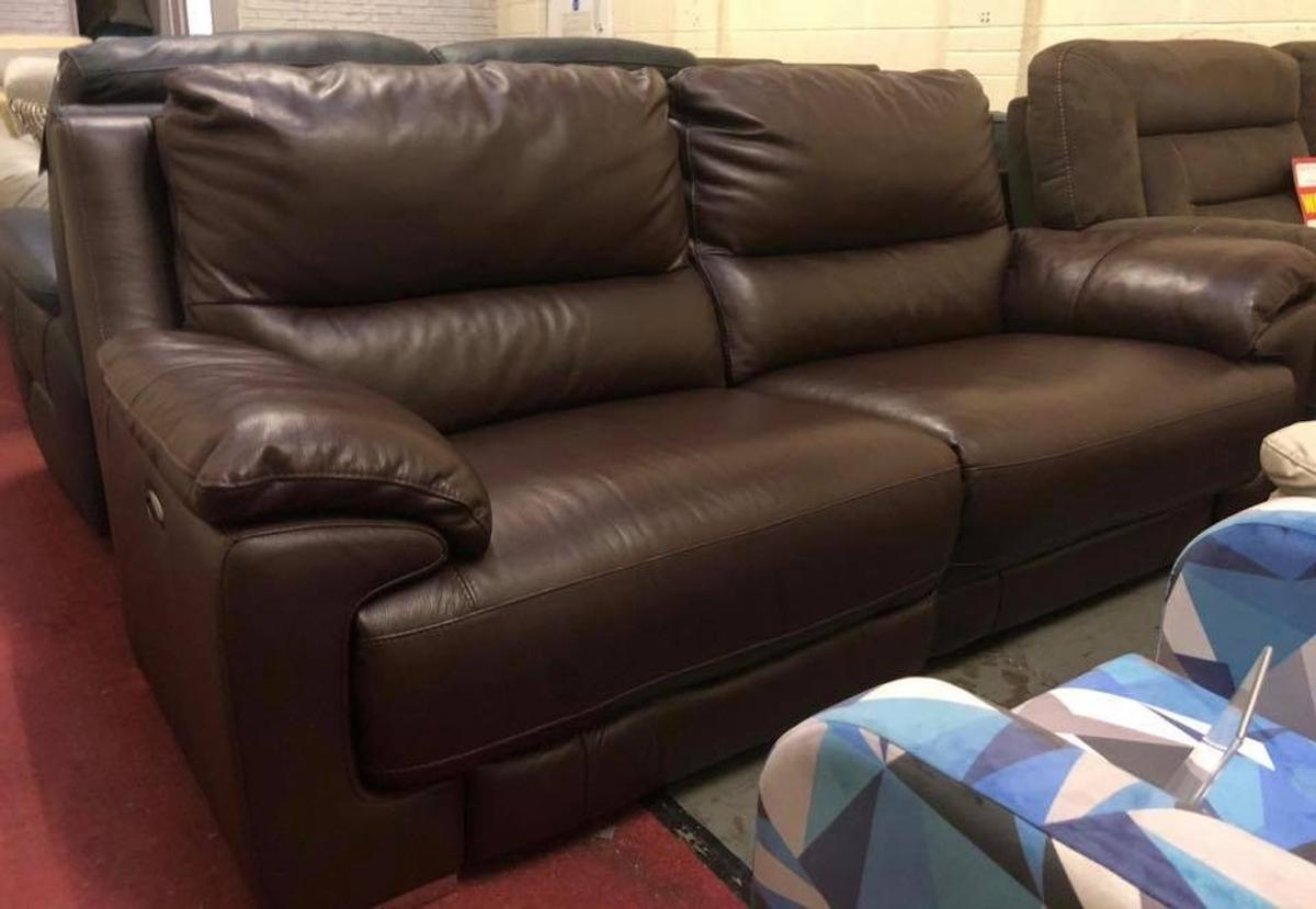 Marvelous Dfs Brown Leather Recliner 3 Seater Sofa In Pontardawe For Gmtry Best Dining Table And Chair Ideas Images Gmtryco