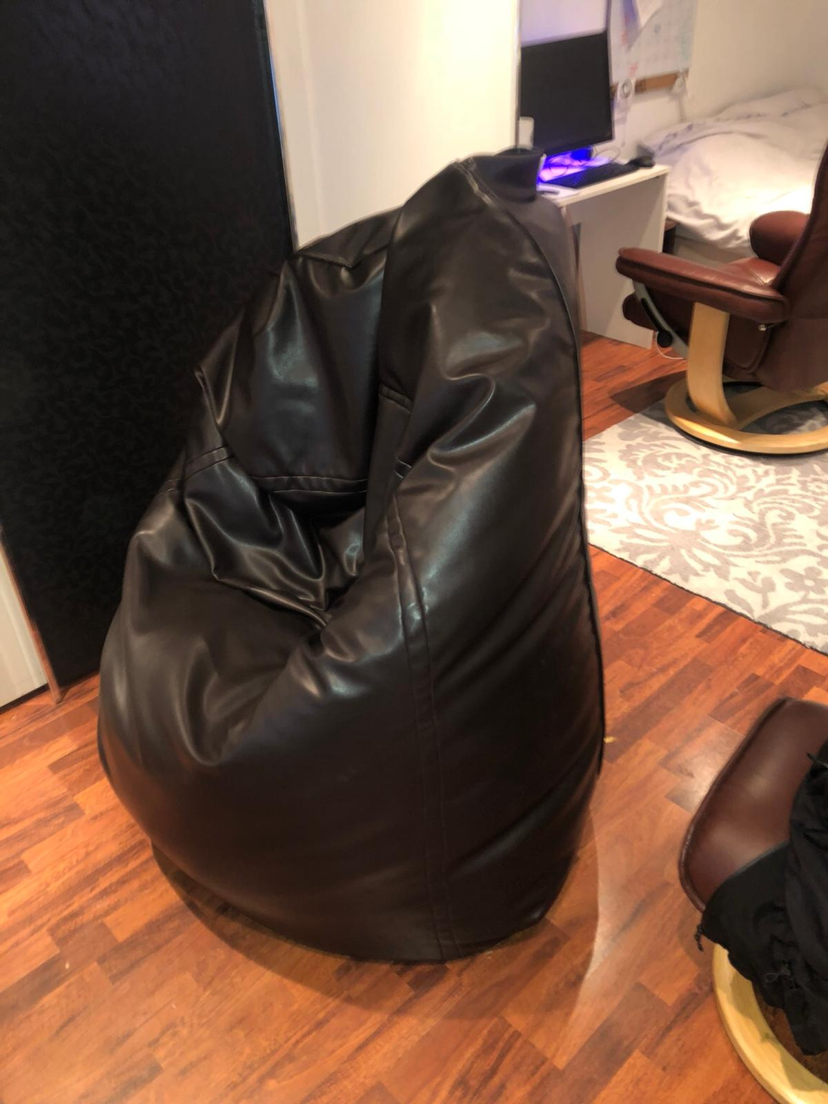 Groovy Large Bean Bag Dark Brown Leather Caraccident5 Cool Chair Designs And Ideas Caraccident5Info