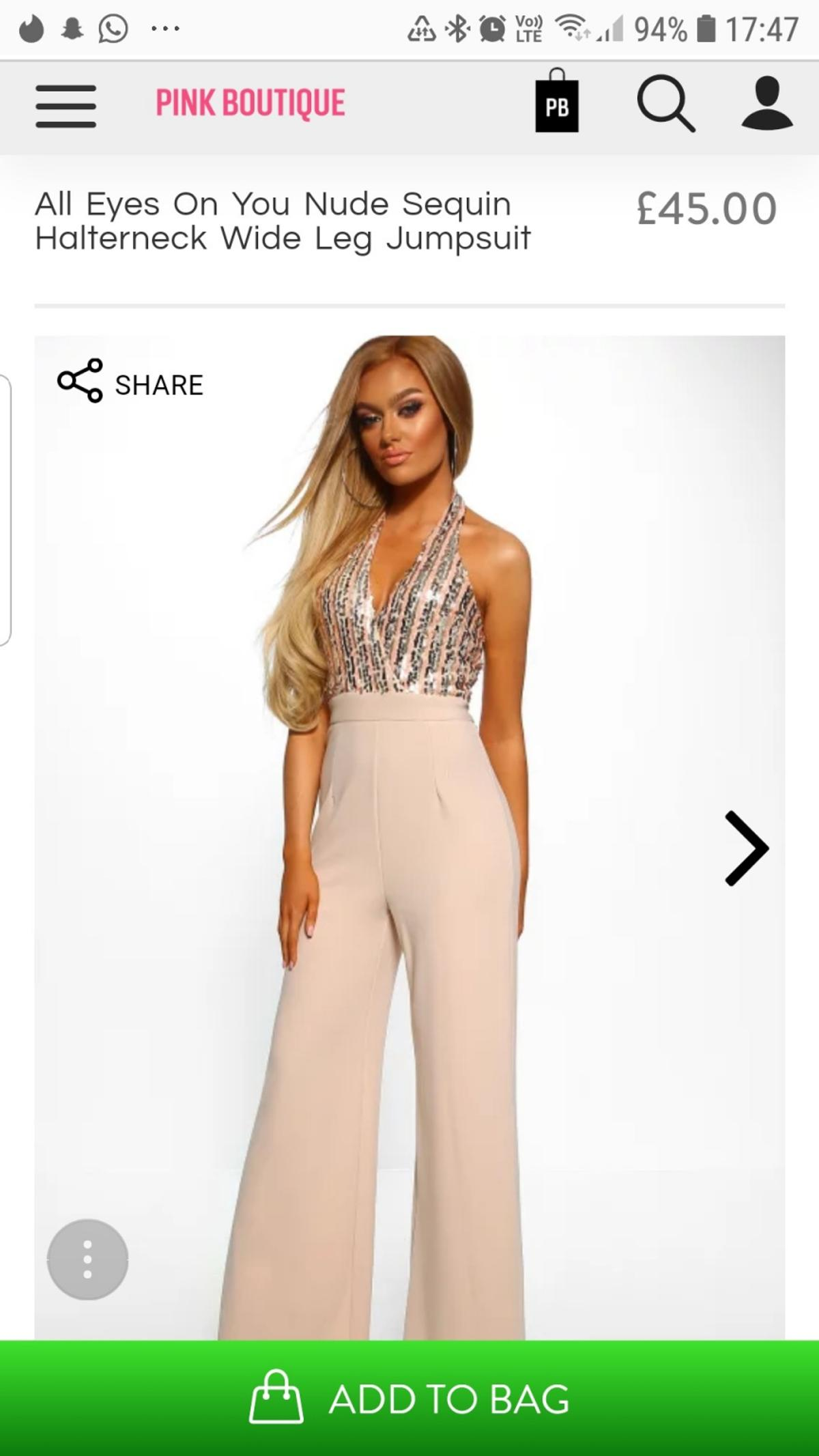 2019 original various kinds of great look Pink Boutique Nude Jumpsuit Size 14 in B77 Tamworth for ...