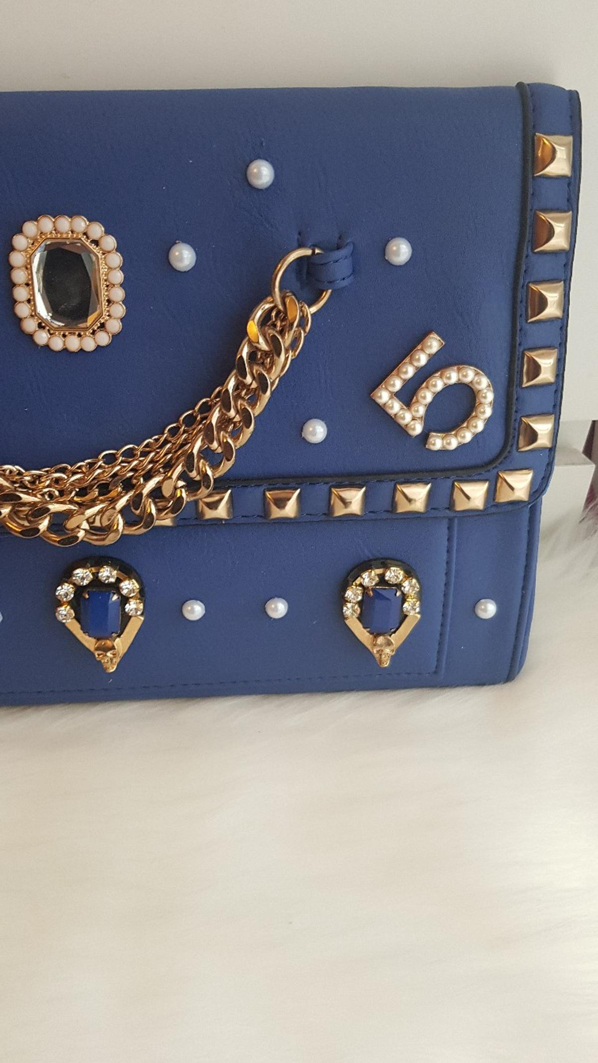 BRAND NEW CUSTOMISED BLUE JEWELLED CLUTCH BAG in N22 London