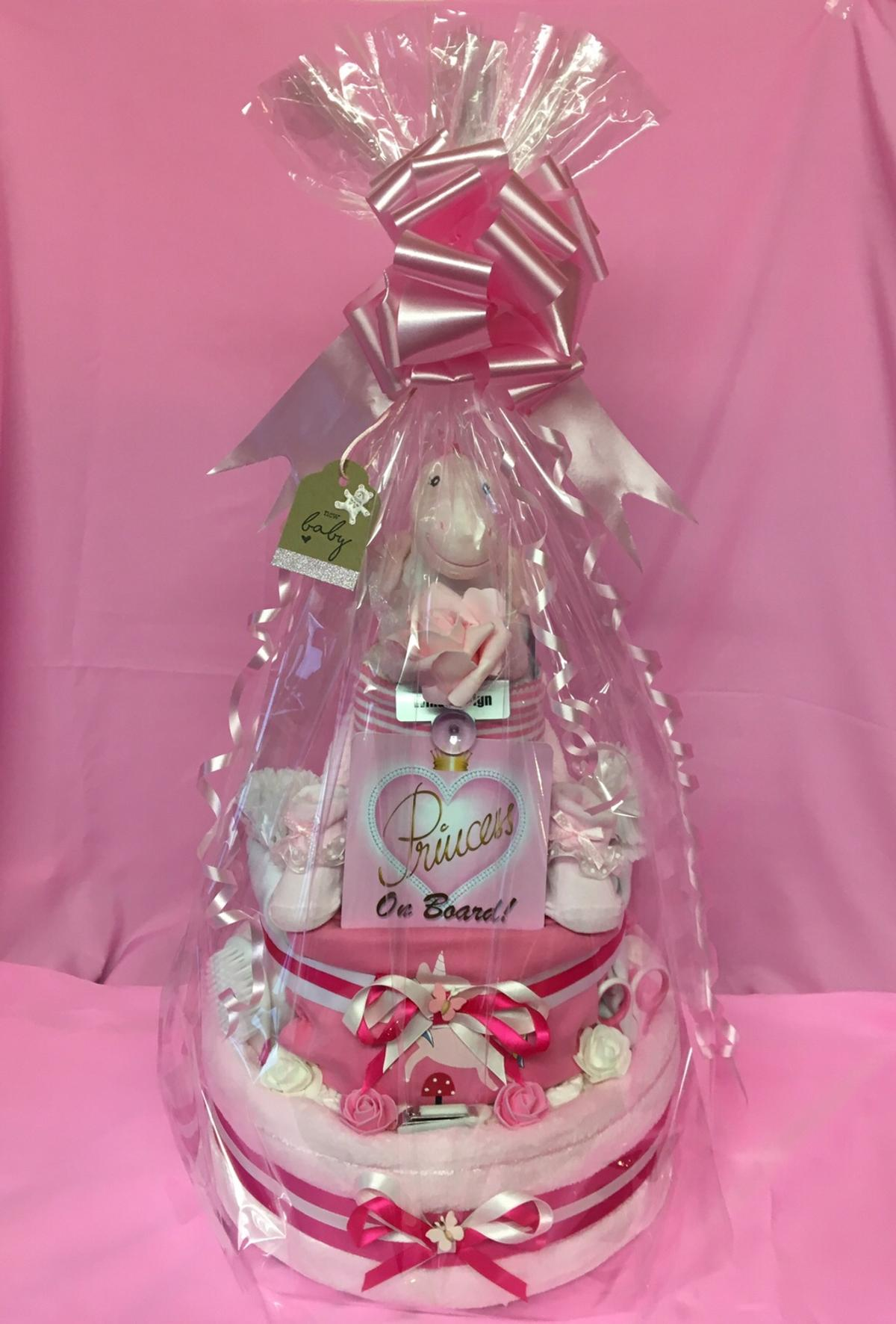Bling baby shower gift clothing bottle diapers personalized present pink girl