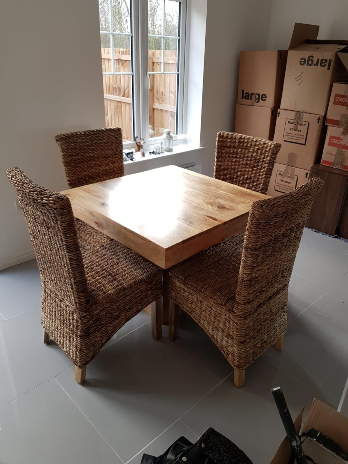 Strange Solid Mango Wood Cube Dining Table Chairs In Ts8 Newham Machost Co Dining Chair Design Ideas Machostcouk