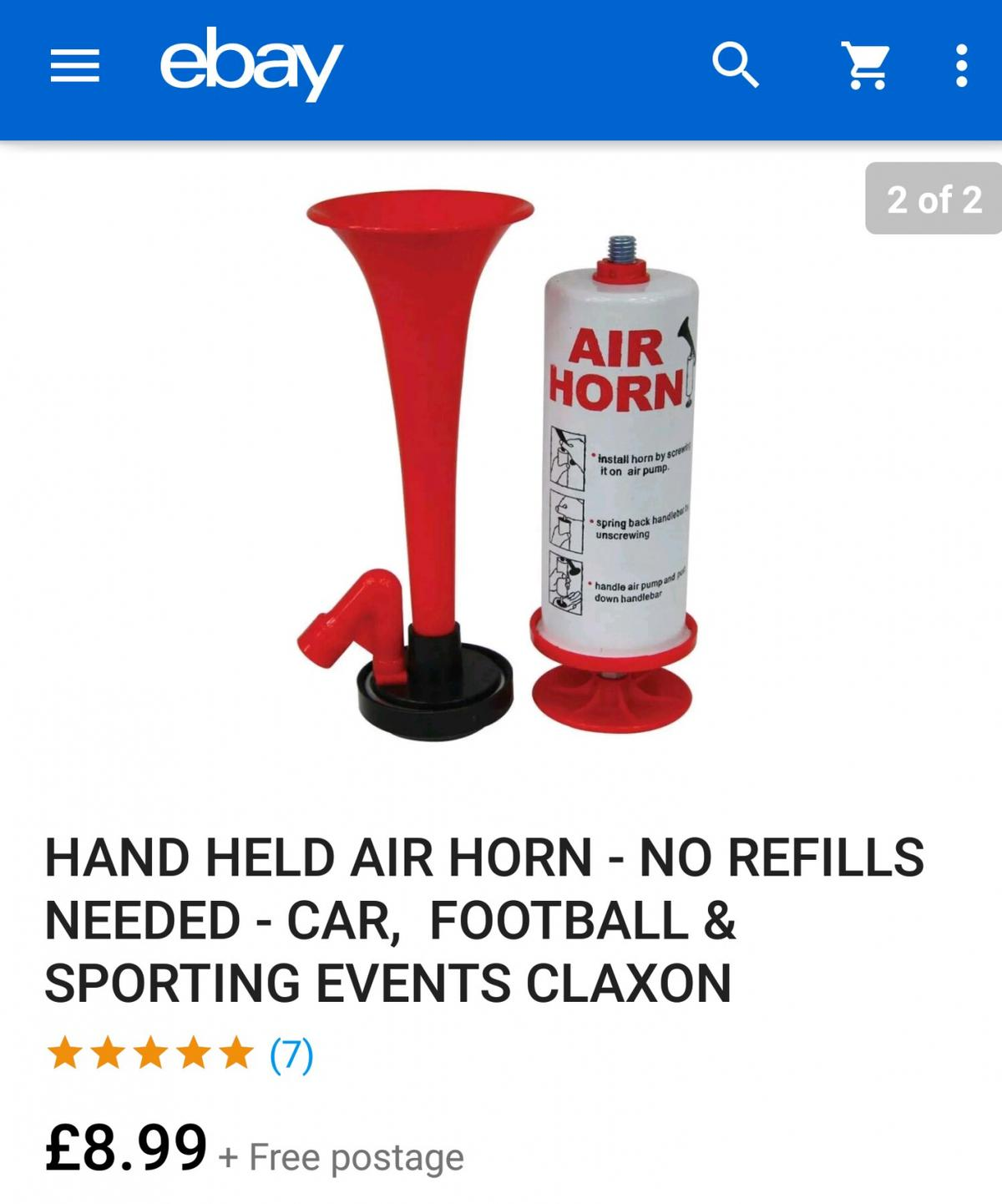 No Refills Needed Car Football /& Sporting Events Claxon NEW Hand Held Air Horn