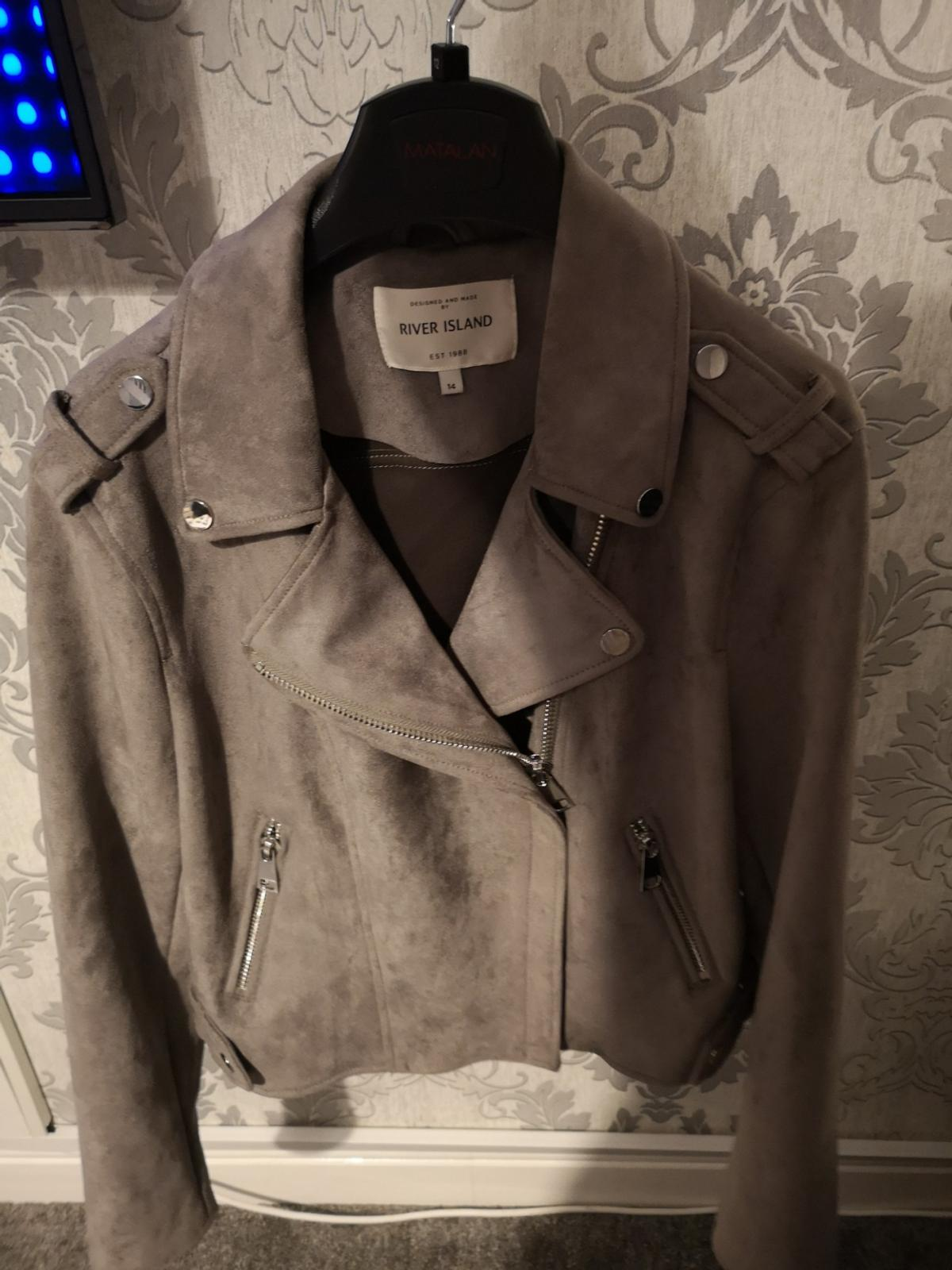 1f27219ef308 NEW River Island Grey Faux Suede Biker Jacket in St Helens for ...