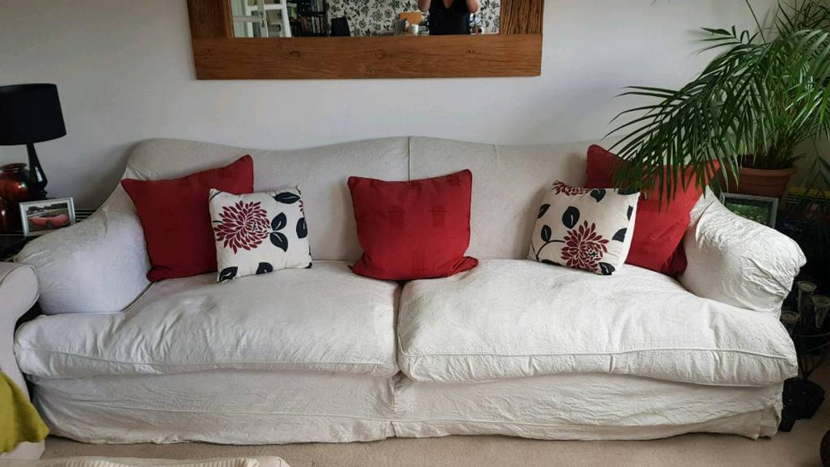 Picture of: White 3 Seat Sofa Feather Cushions In Se24 London For 95 00 For Sale Shpock