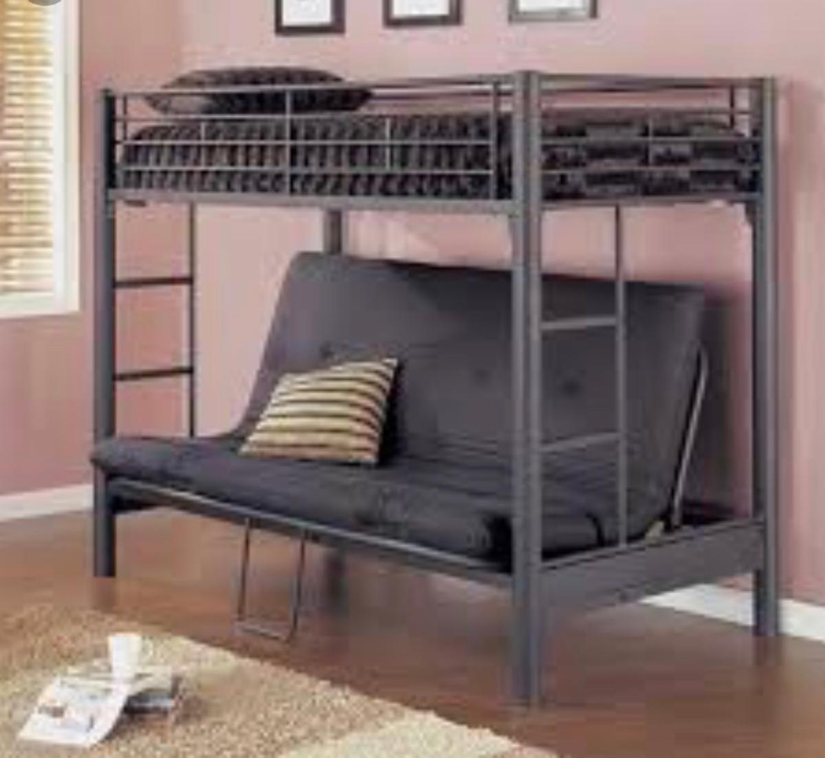 Single Bunk Bed With Double Futon Seat