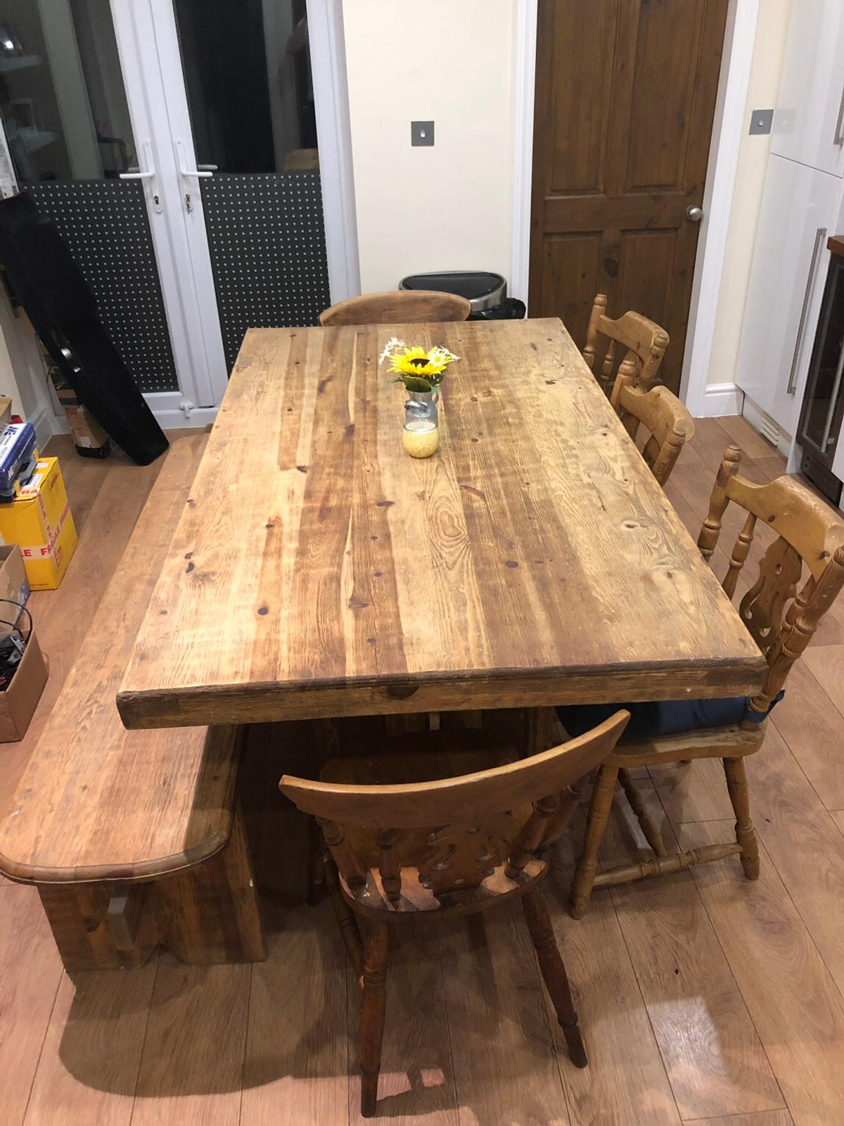 Solid Wood Farmhouse Dining Table And Chairs