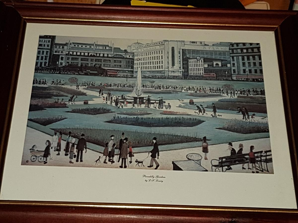 LS Lowry Piccadilly Gardens CANVAS WALL ART PICTURE FRAMED PRINT PAINTING