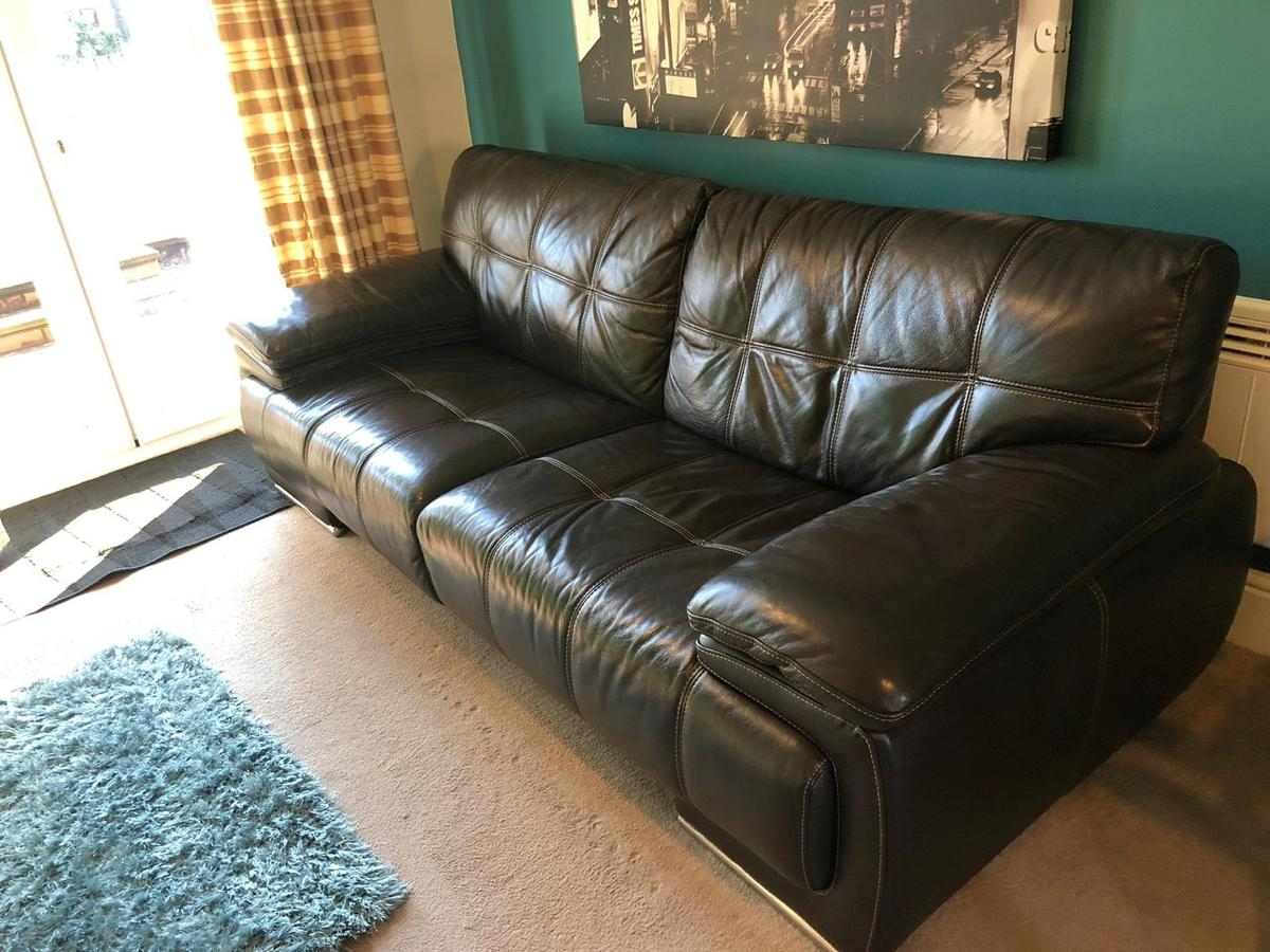 Superb Bergamo Verona Brown Leather Sofa Set In Ws15 Lichfield For Uwap Interior Chair Design Uwaporg