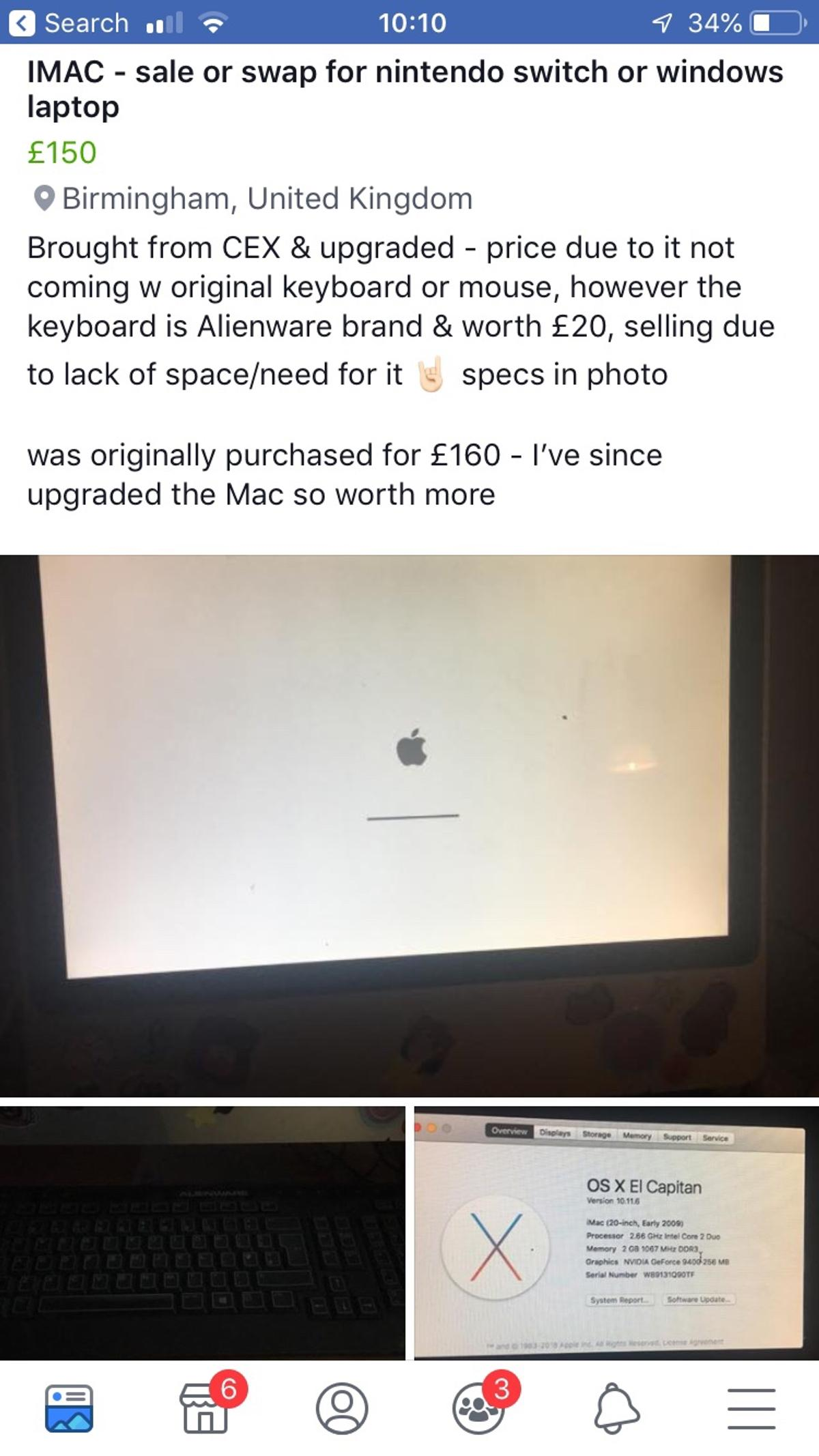 OS X EL CAPTAIN IMAC - SALE OR SWAP in B23 Birmingham for £150 00