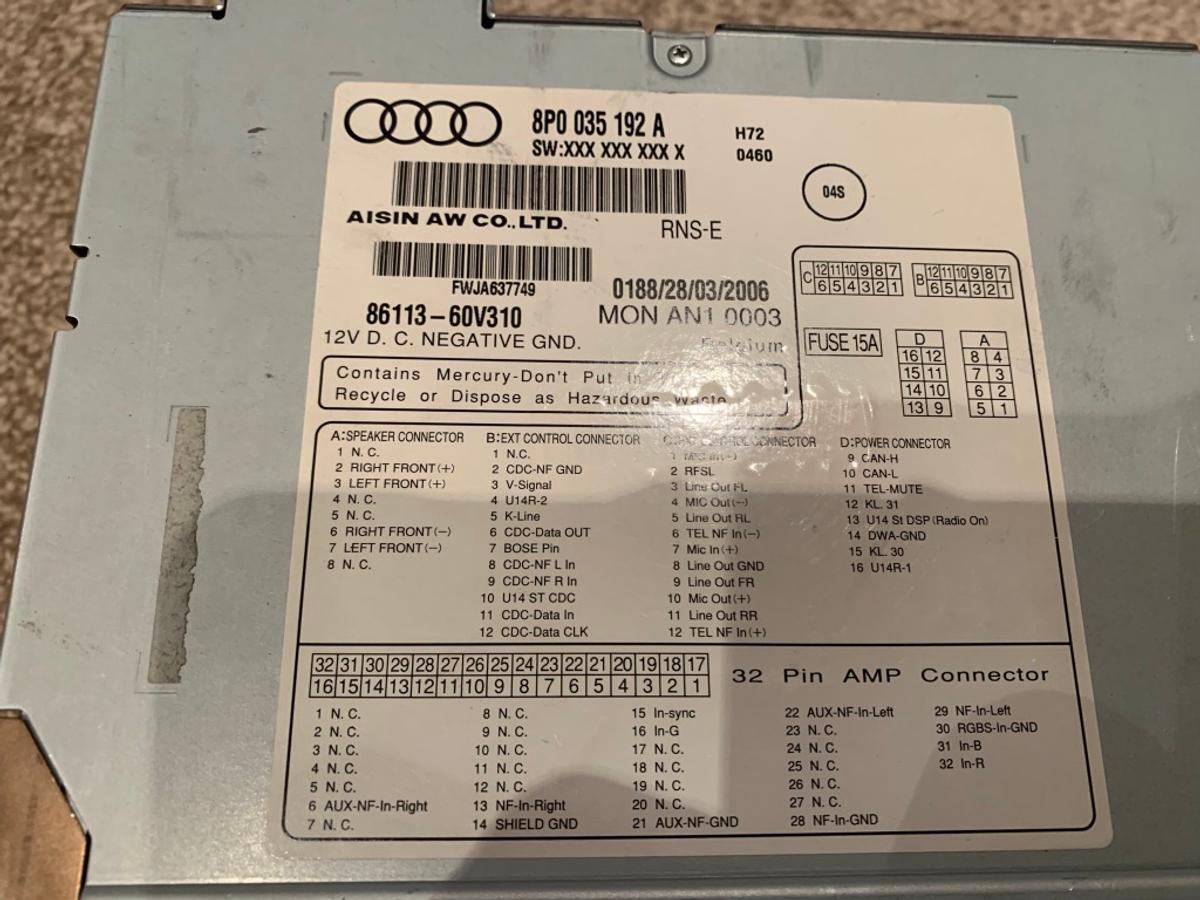 Audi RNS-E Navigation Plus From A3 in Colnbrook for £275 00