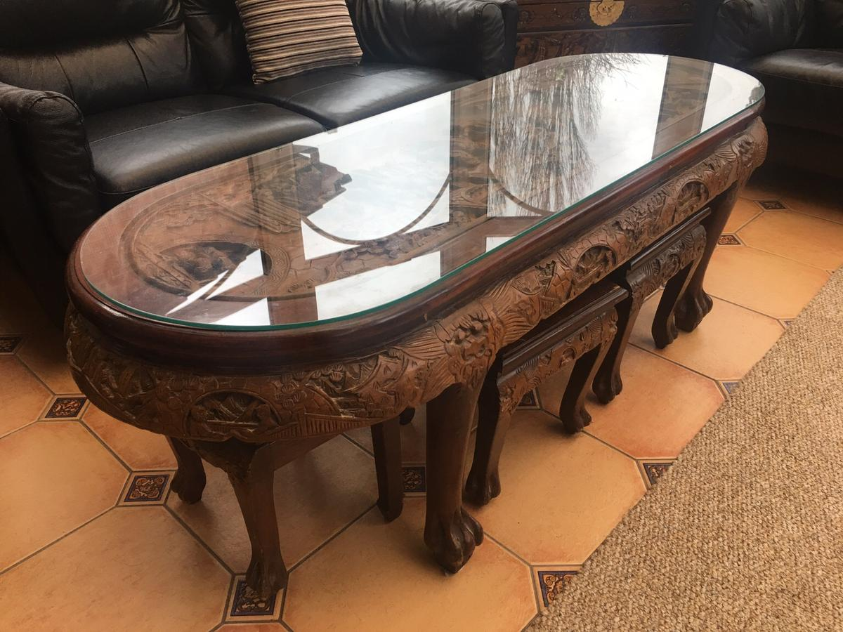 - Hand Carved Chinese Coffee Table With Stools In B43 Sandwell Für