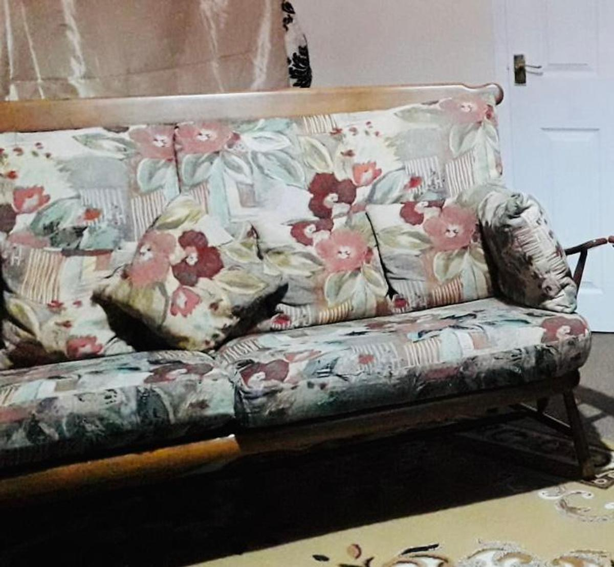 Ercol Vintage Wooden Sofa And Chairs