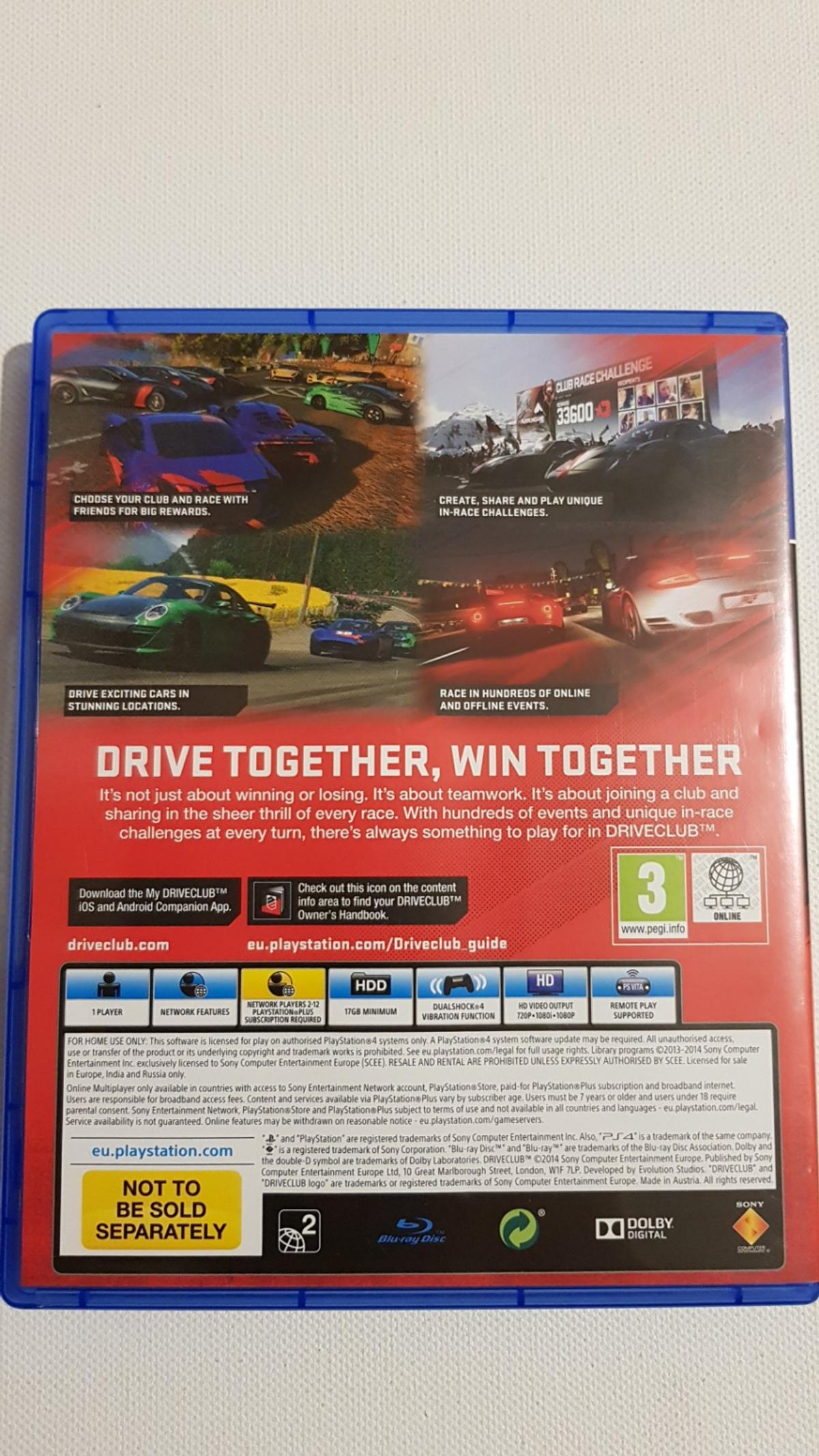 NEW Driveclub (PS4) Racing Game in LS7 Leeds for £6 50 for