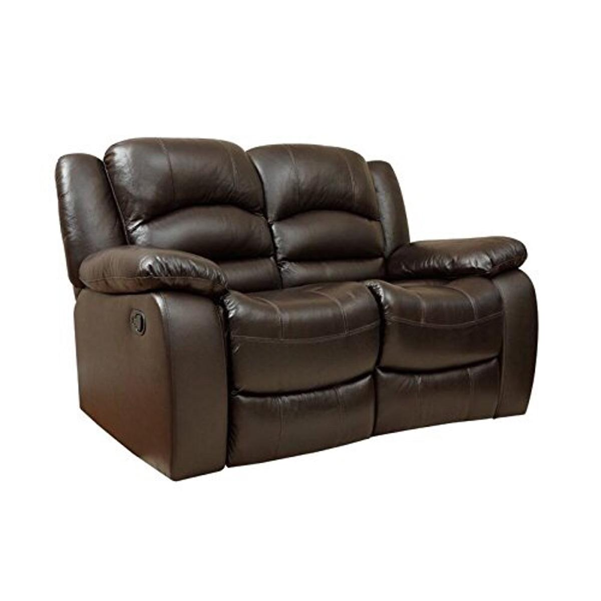 2x2 seater brown leather recliner sofas