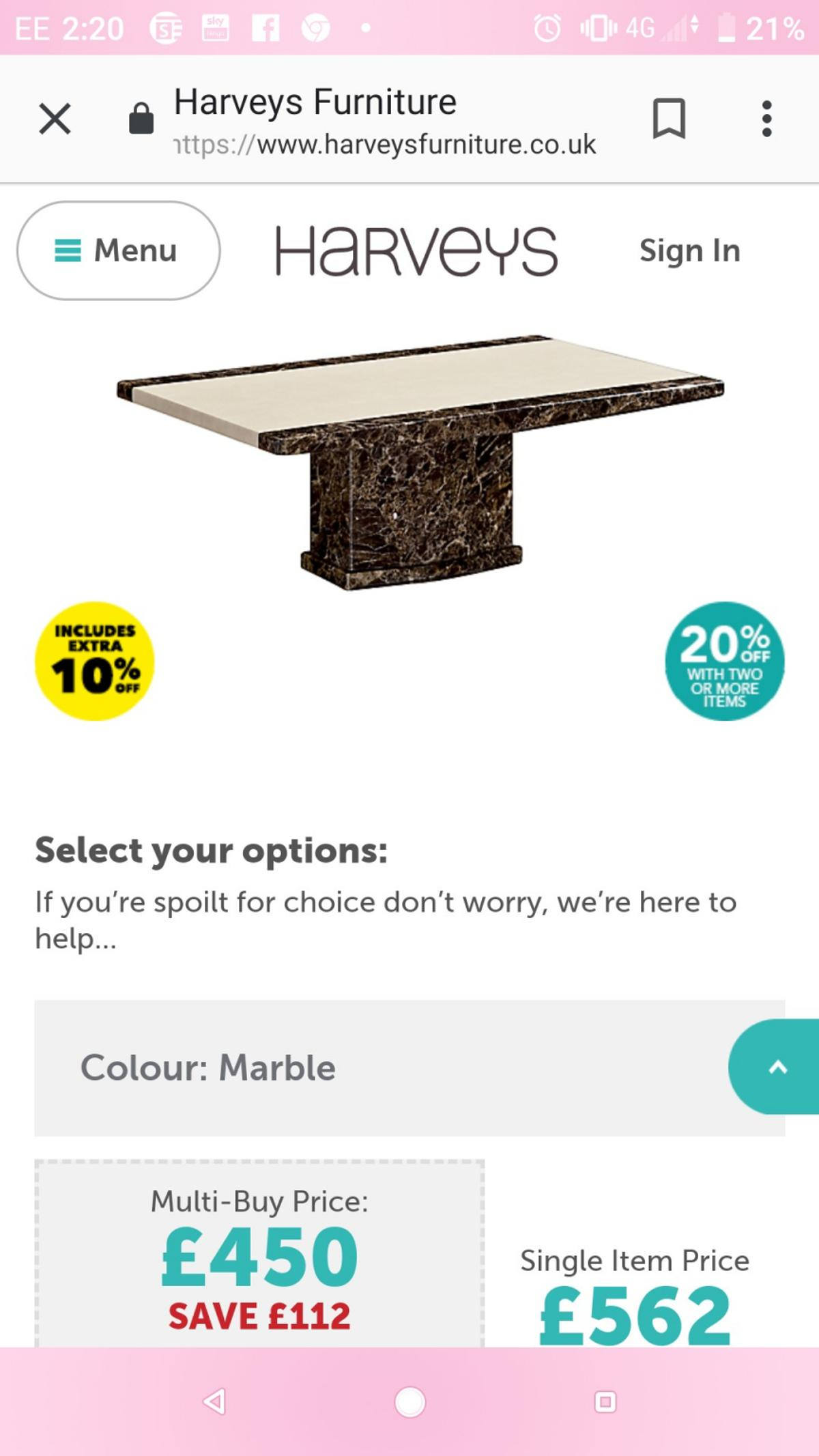 Coffee Table Solid Marble From Harveys
