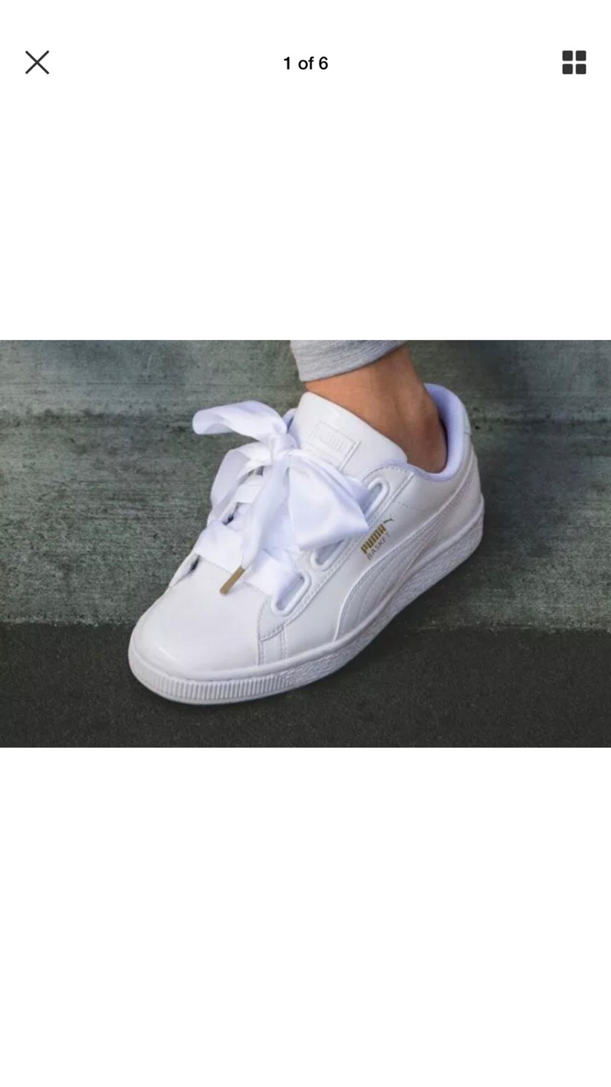 finest selection 01e0e 1494d Newpuma basket heart trainers in patent white in NG8 ...