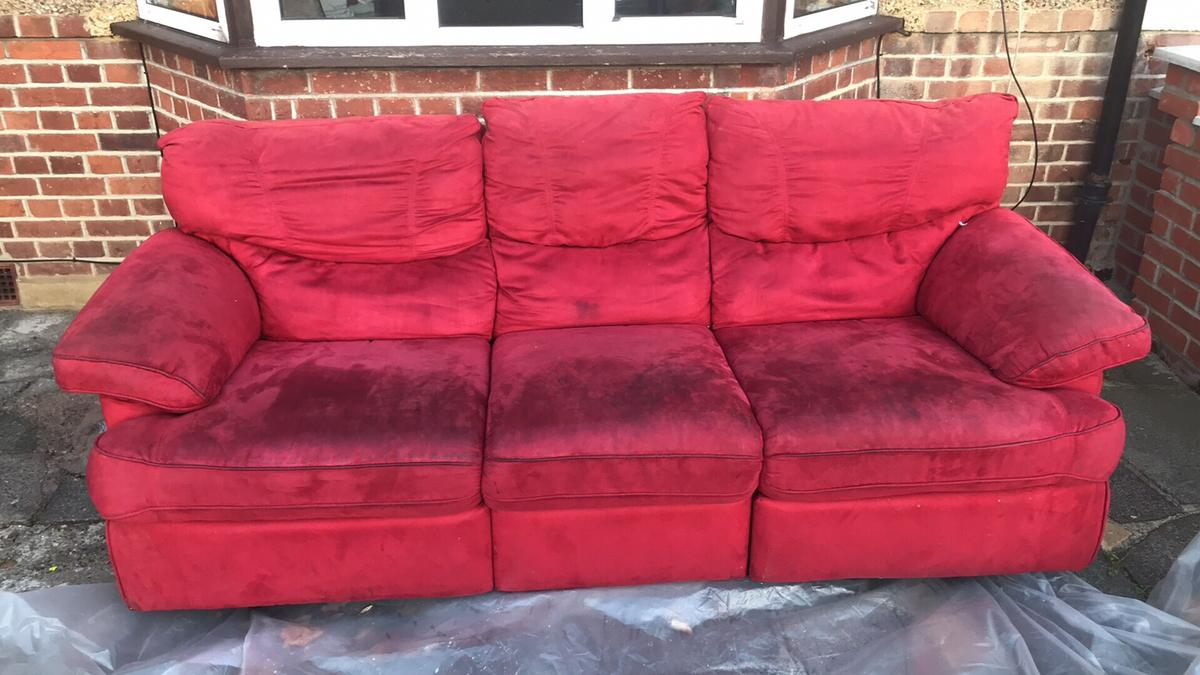 Red Suede sofa in W13 London Borough of Ealing for £100.00 for sale ...