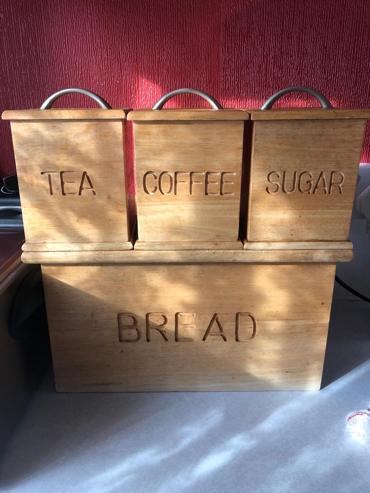 Tea Coffee Sugar Canisters With Bread Bin