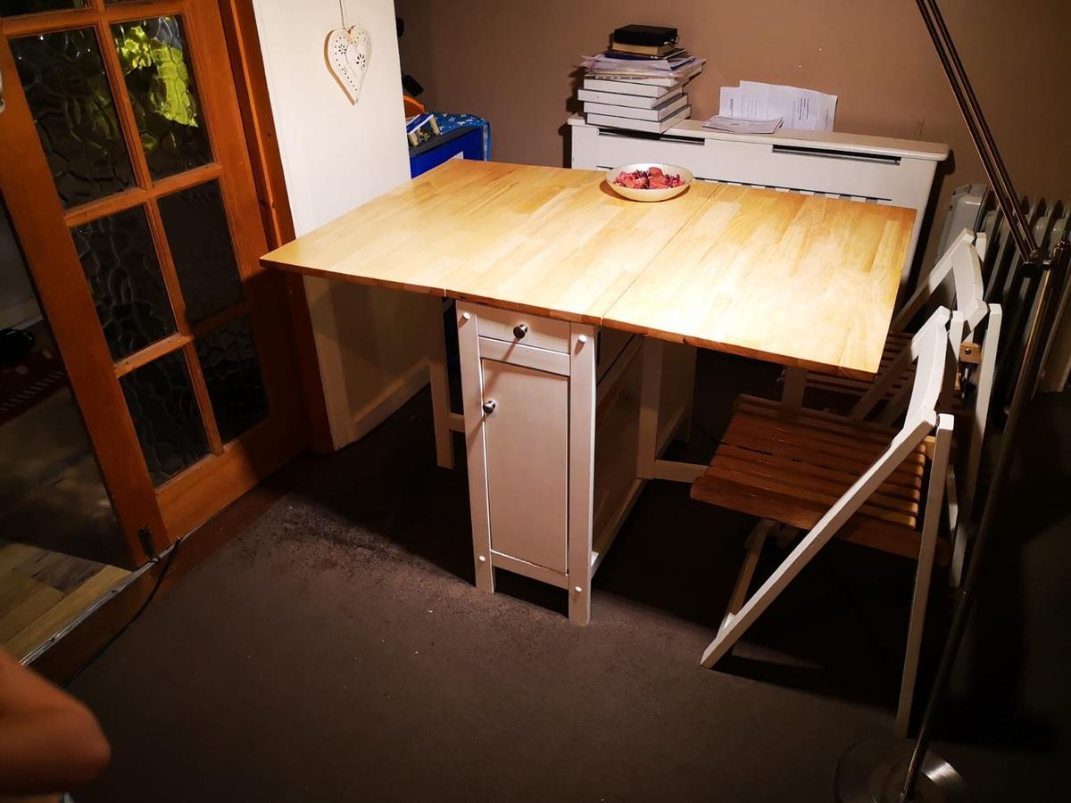Drop Leaf Folding Dining Table With 3