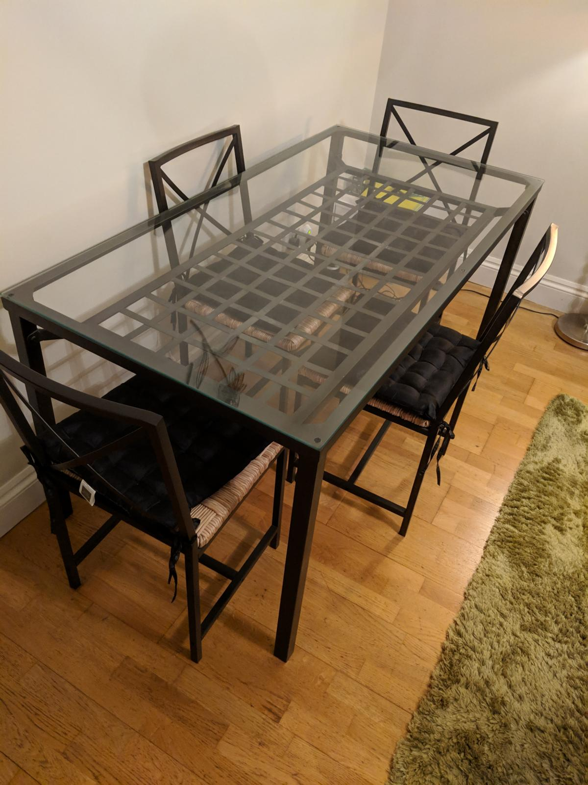 Surprising Ikea Granas Glass Dining Table With 4 Chairs Beutiful Home Inspiration Aditmahrainfo