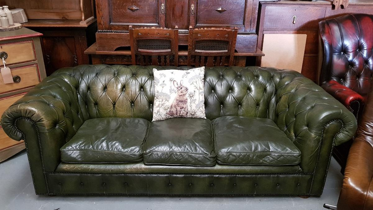 Olive Green Leather Chesterfield Sofa 1980s in B77 Tamworth for ...