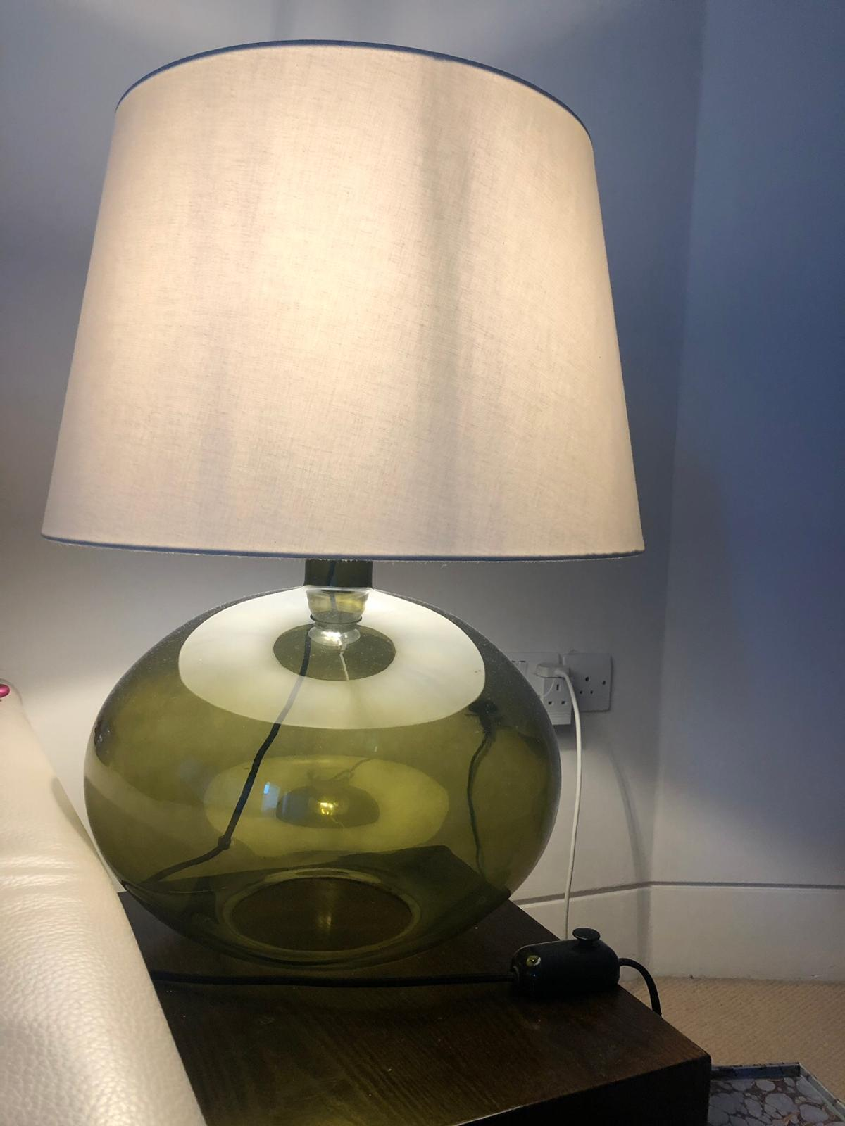Pair large green glass table lamps in SW18 London for £50.00