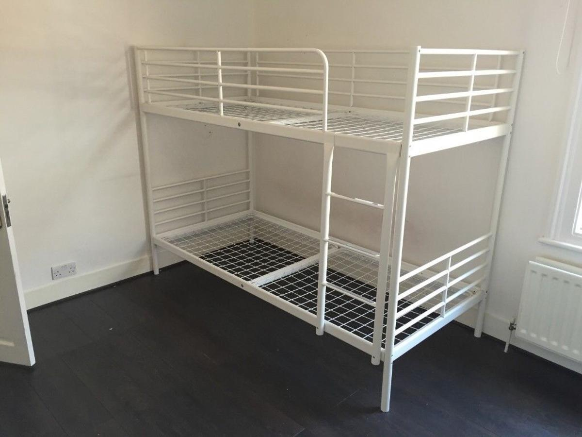 Ikea Tromso white metal single bunk bed