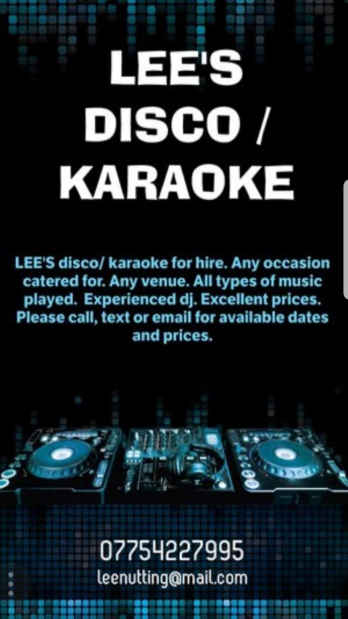 LEE'S DISCO/KARAOKE FOR HIRE in LE2 Leicester for free for