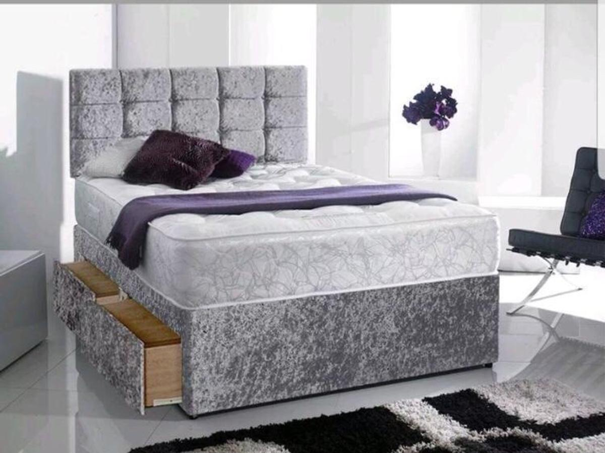 Brand new Crushed Velvet beds.  Come complete with memory foam layered matching mattress and headboard  Single £149 4ft small double £179 Double £179 Kingsize £189  We also offer same day local delivery for £5. Call 07877 138063  Draws can be added extra for £25 for a pair or £50 for 4