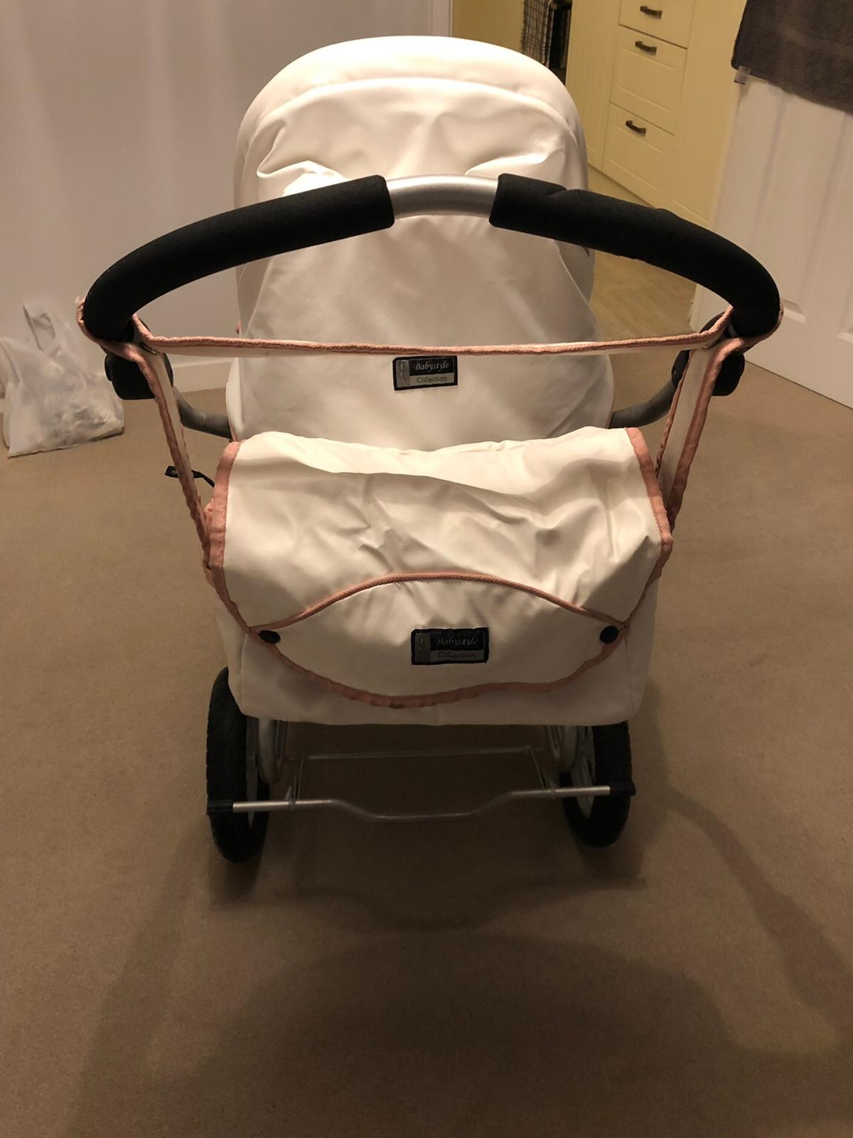 Here I am selling a stunning Babystyle Lux limited edition wicker 2 in 1 pram.  this pram is white leather affect with pink piping. The wicker basket sets this pram of as it not like your average style of pram.  Both parts of the pram are in great condition with general wear as shown in the photos.  This set up can be used from newborn to 2 years of age.  Including winter cover, summer net & changing bag.  Collection thurnscoe