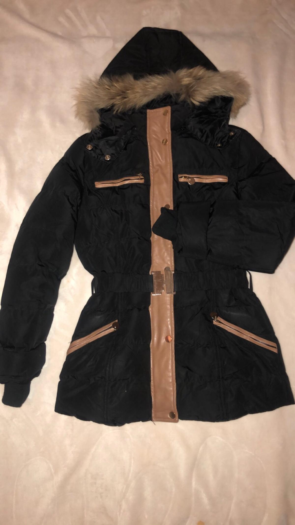 Black and brown coat with belt and fur hood, size 6/8, bought for £70