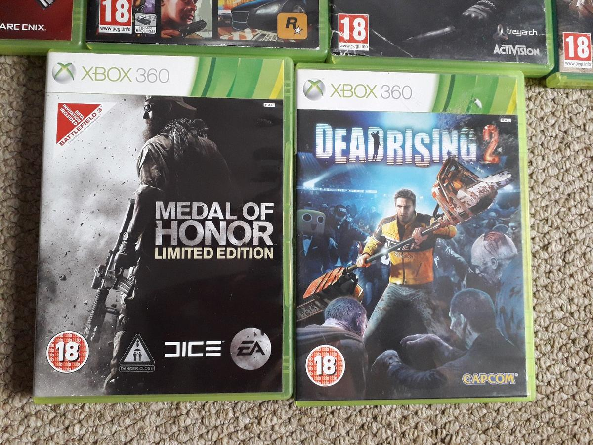 Certificate 16 and 18. 9 Xbox 360 games. including Grand Theft Auto 5 and Call of Duty Ghosts sold as bundle. Collect only