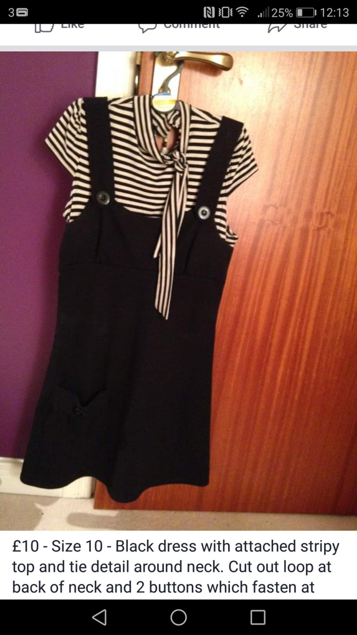 black dress with stripy top attached