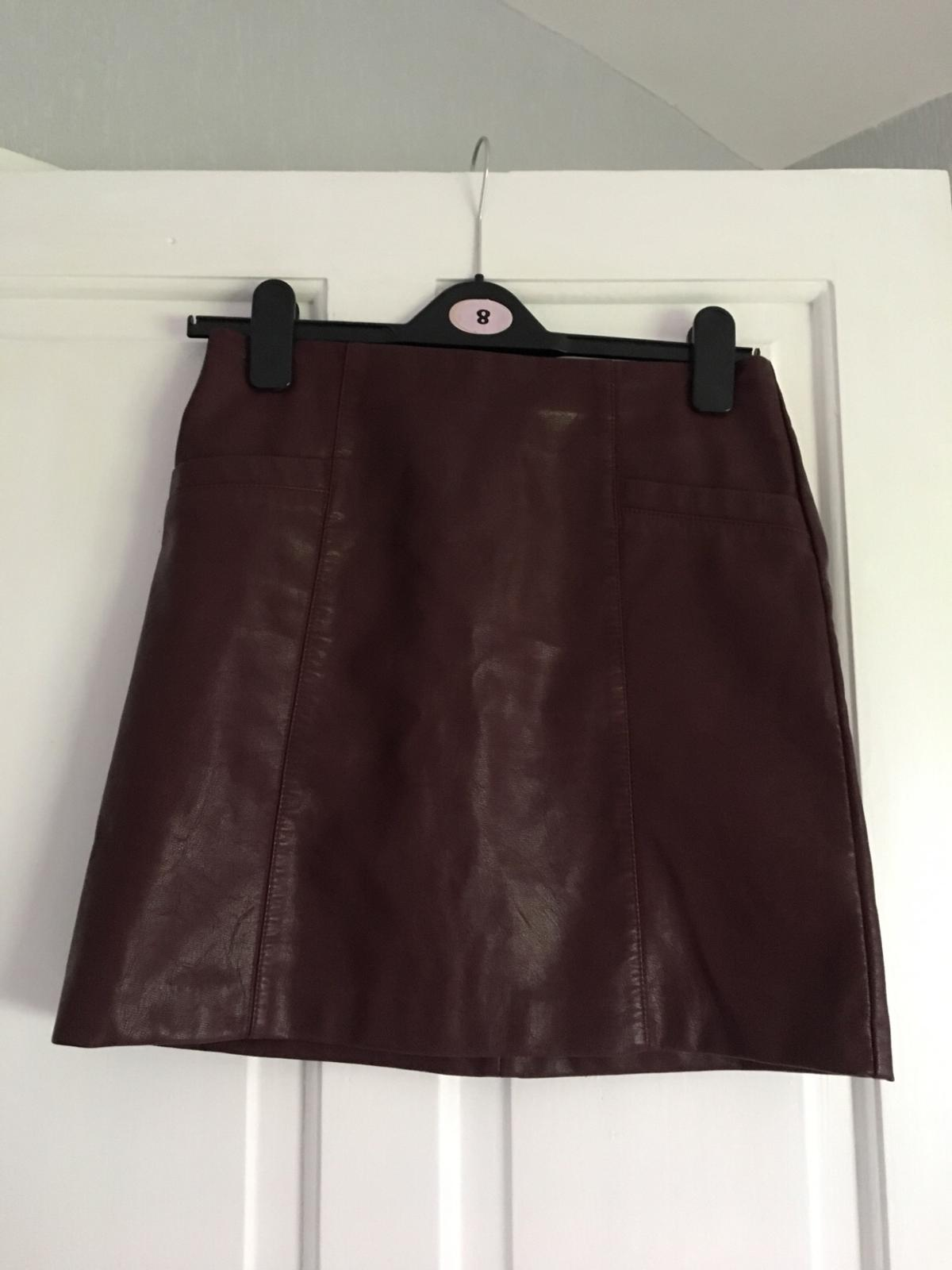 fast delivery various colors price New Look faux leather burgundy skirt sz 8 new