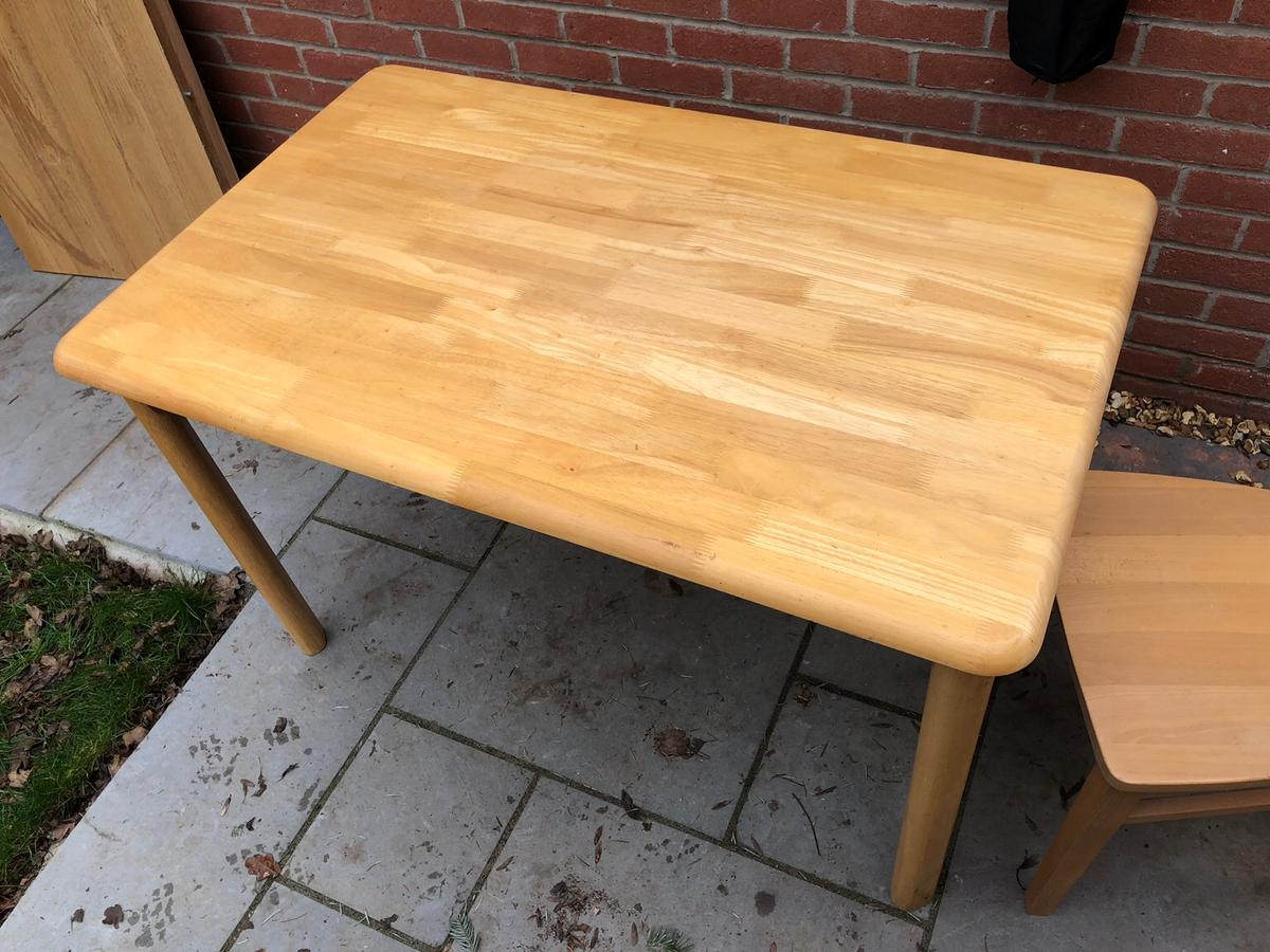 Table and 4 chairs. About 10 years old and stored on the garage. Originally from John Lewis.  Is destined for the tip at the end of the week if nobody wants it.  Table size approximately 1200mm long, 760mm wide and 740mm high. Legs removable for easy storage and transportation.  Table comes as a set with 4 matching chairs.  Reasonable condition but with some marks.  Collection only.