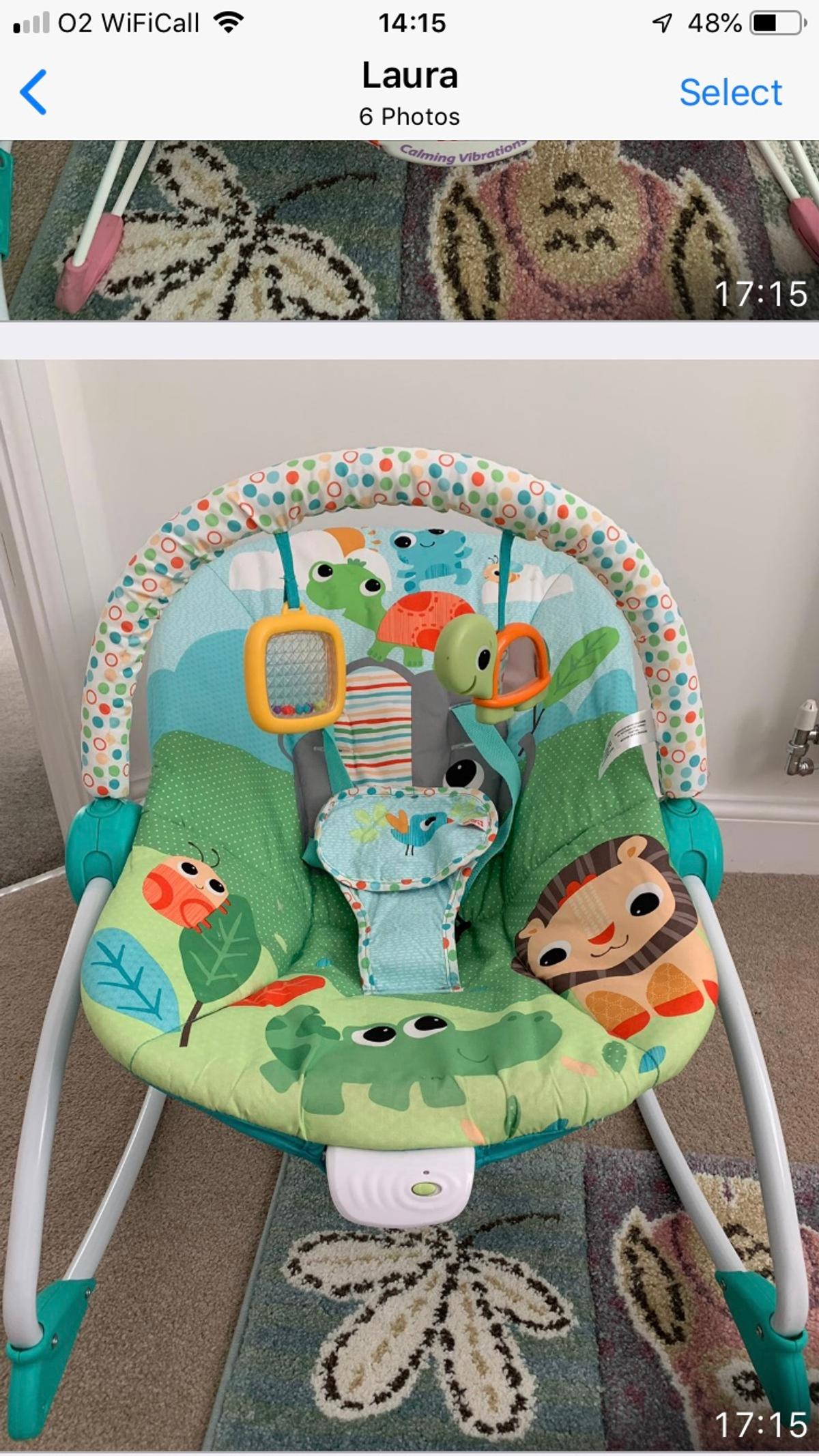 This baby to big kid rocker grows with baby from infant to toddler.Its very vibrant, comfortable and in good condition.