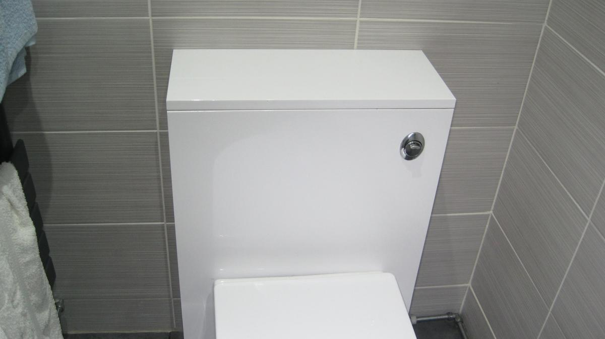 Brand new not been unpackaged exactly the same as the ones pictured Handleless cabinet and toilet unit, purchased from SOAK.COM for around £230 but no longer needed, PLEASE NOTE the sink and cisten must be purchased separate,