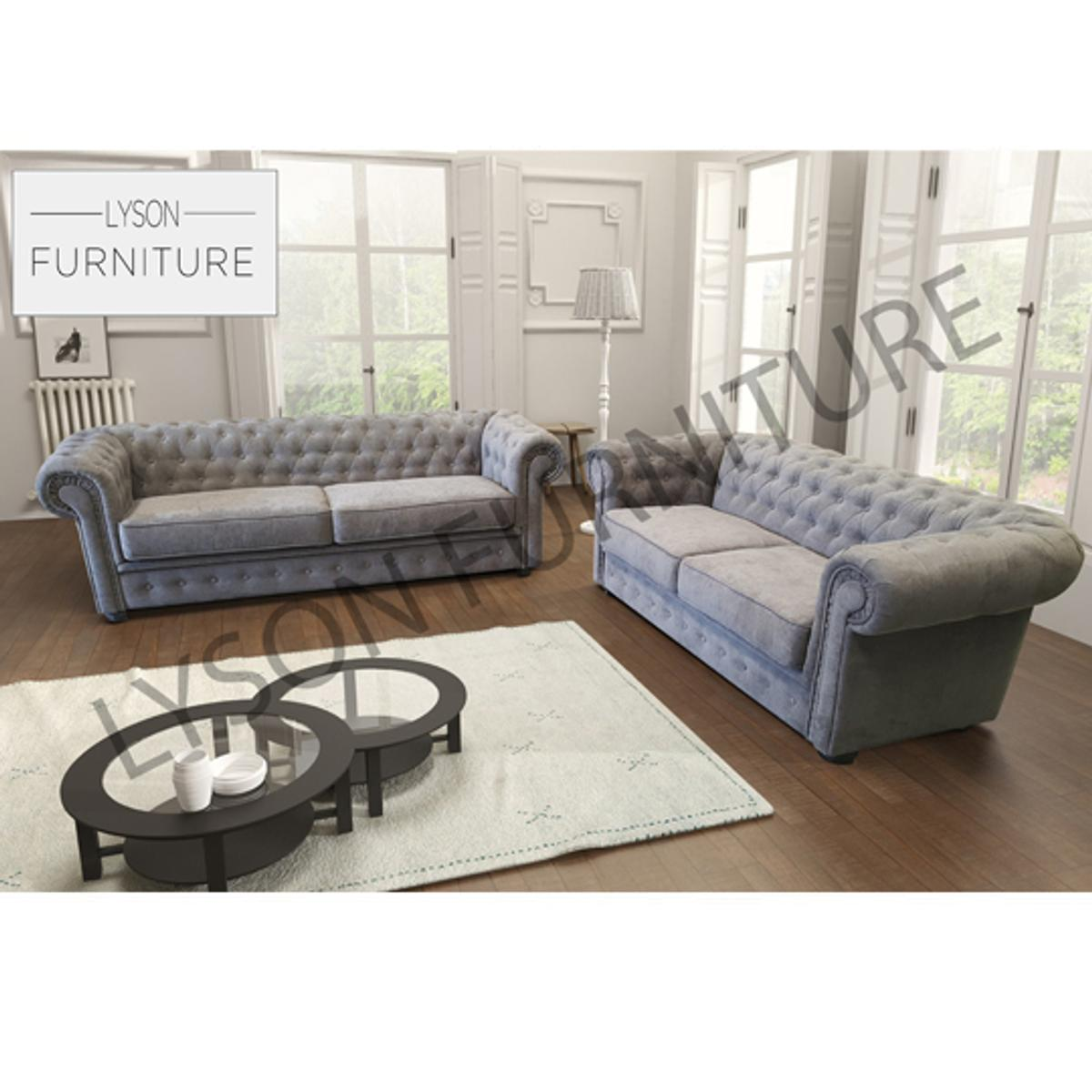Brilliant Chesterfield 3 2 Sofa Set Fabric Dailytribune Chair Design For Home Dailytribuneorg
