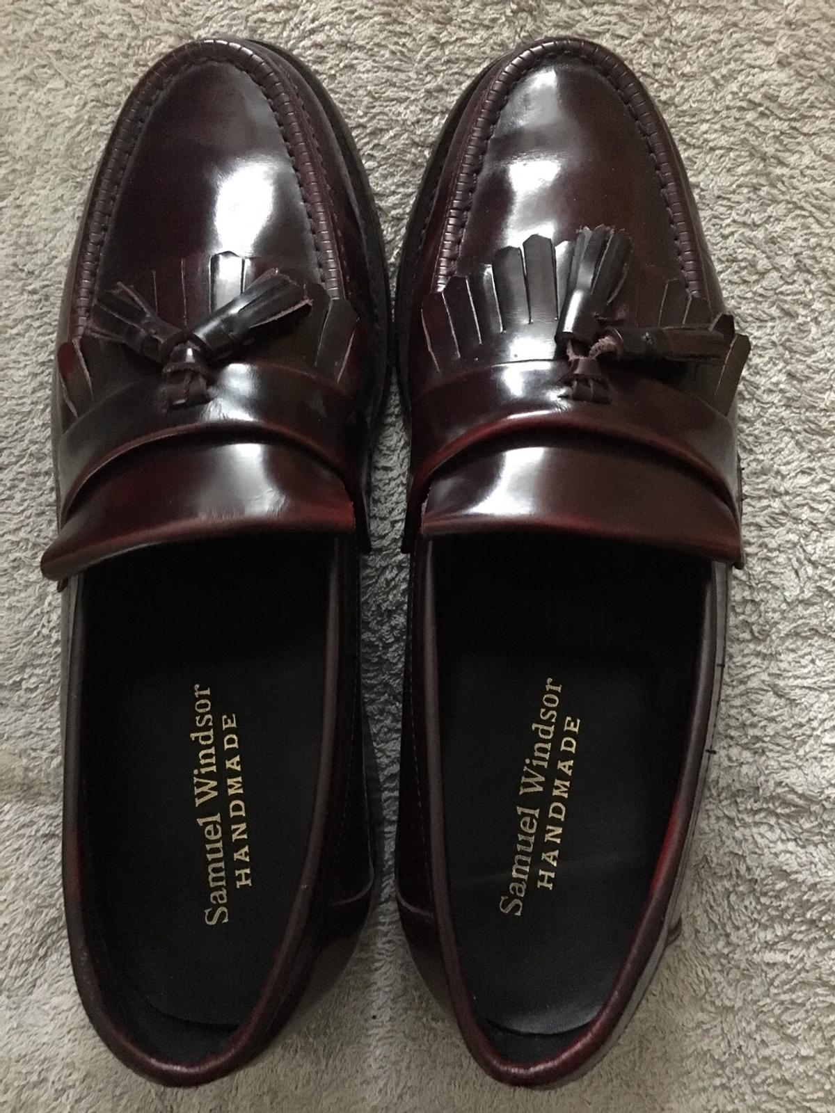 Burgundy/ ox-bloody colour mod loafer shoes.. warm 3-4 times in excellent cindition. Leather upper and sole, made again by Samuel Windsor. Size 7 1/2( I'm an 8 and can wear them)