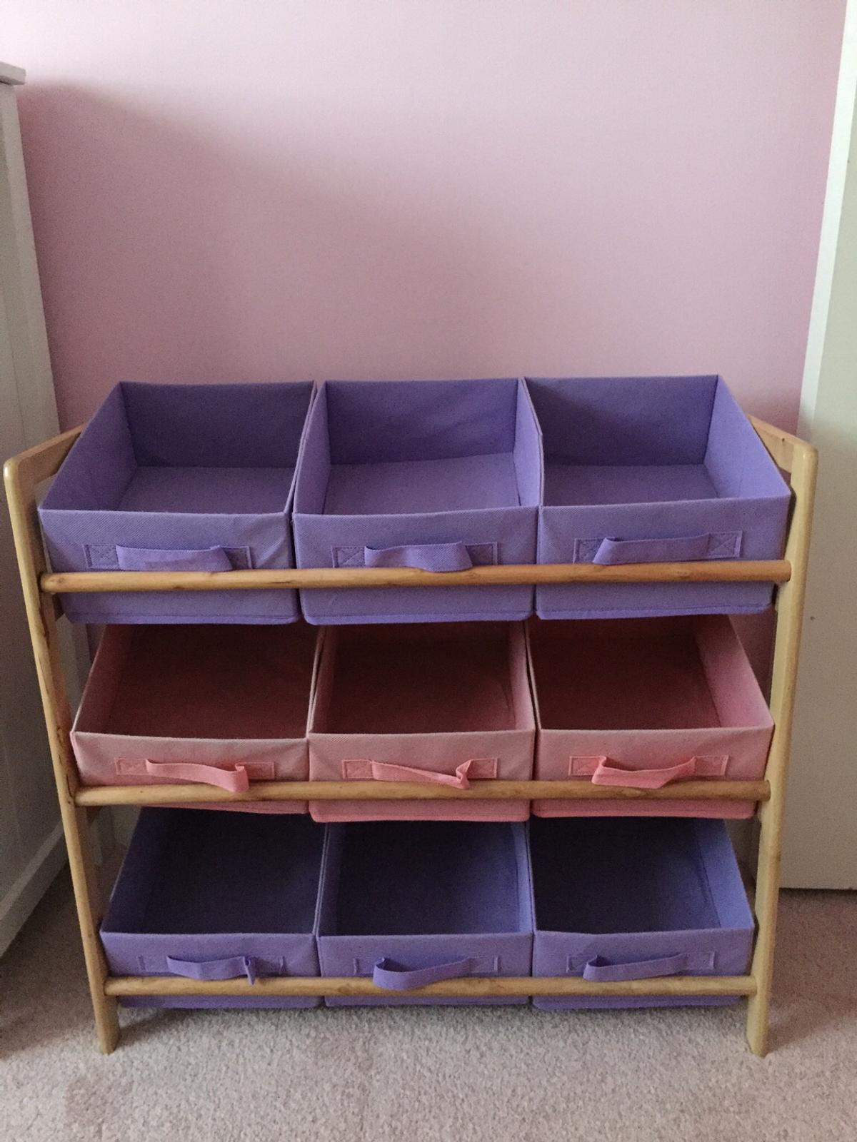 Pink and purple girls bedroom storage boxes