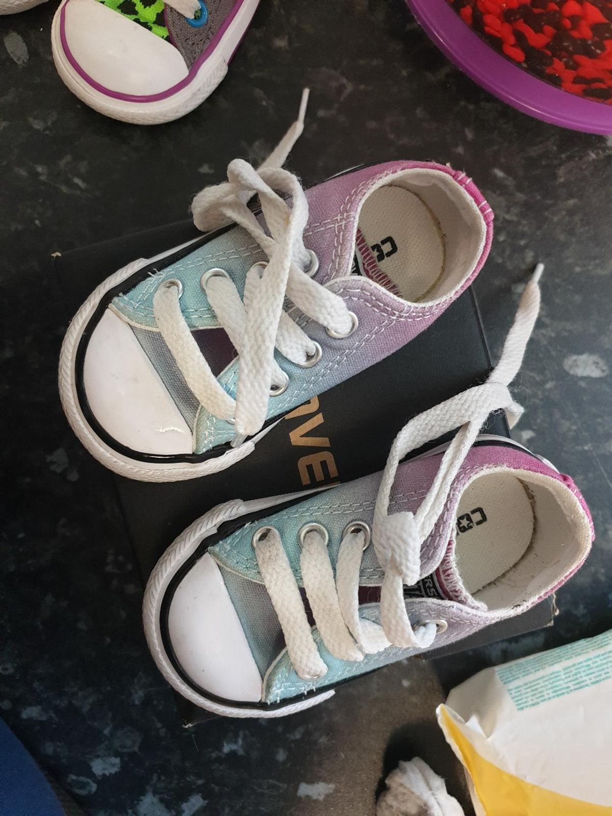 baby converse. size 3. light blue& pink.. in box.